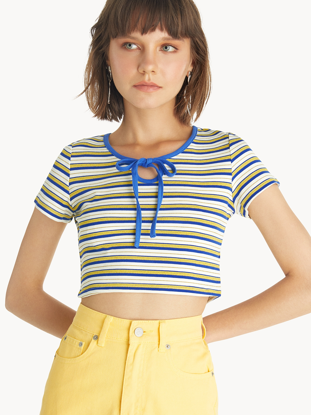 Cropped Bow Neck Top Pink