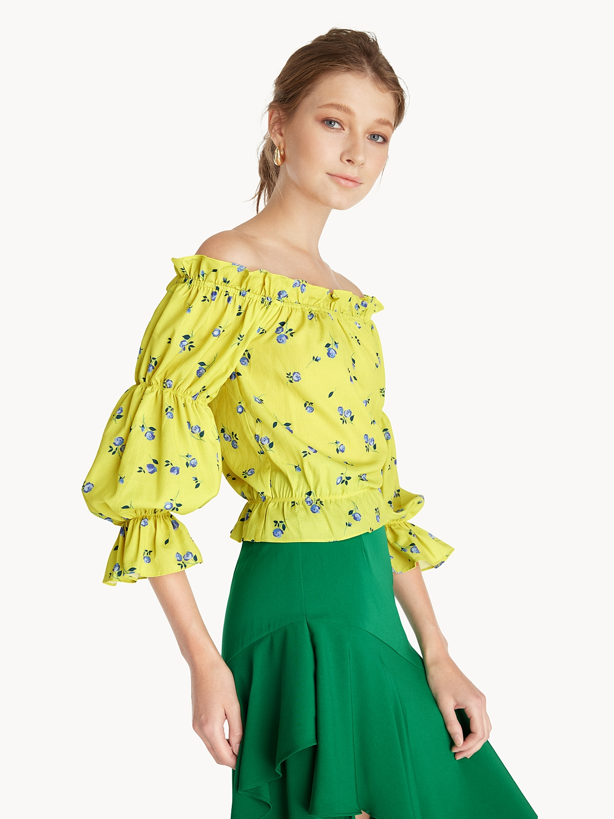 Rose Off Shoulder Blouse Yellow