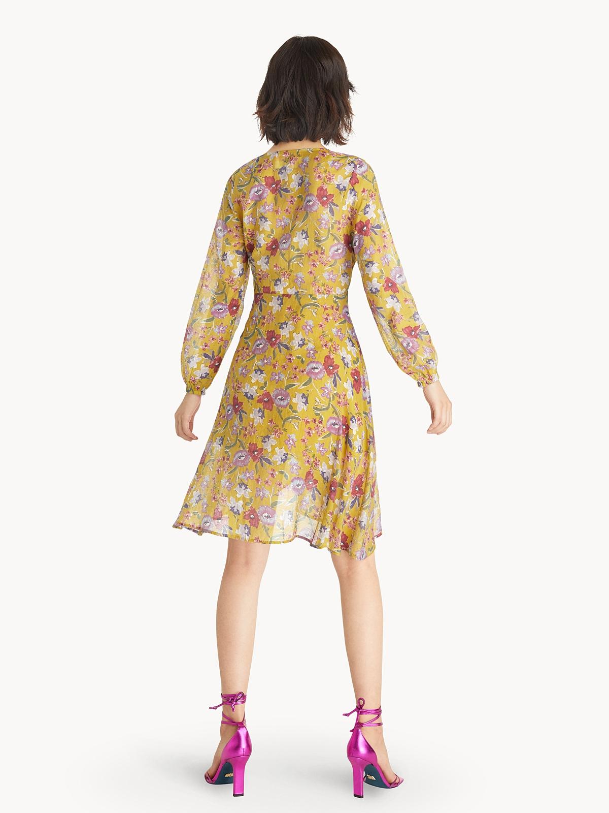 Semi Sheer Asymmetric Floral Dress Yellow