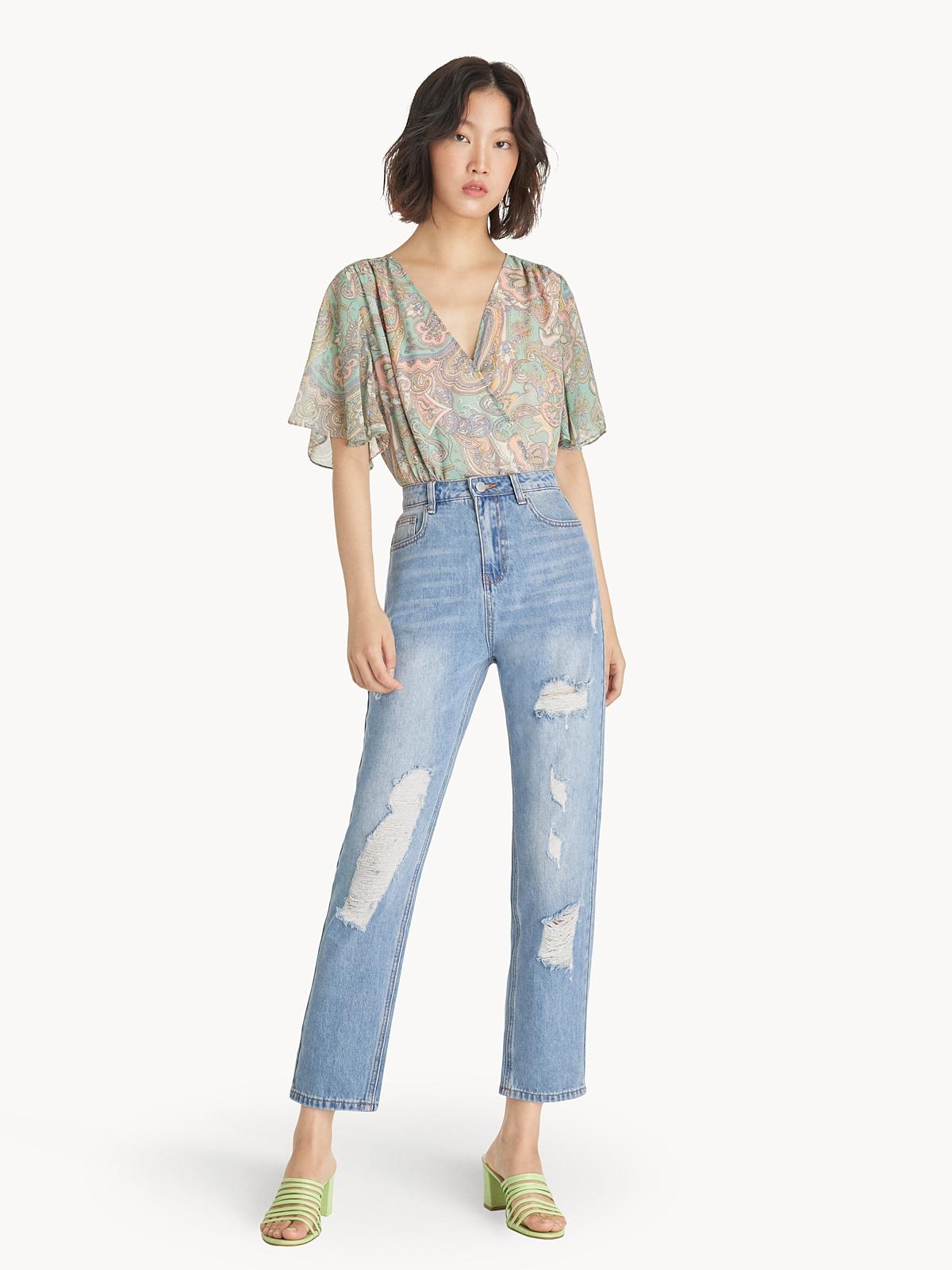 High Waist Distressed Straight Jeans Light Blue