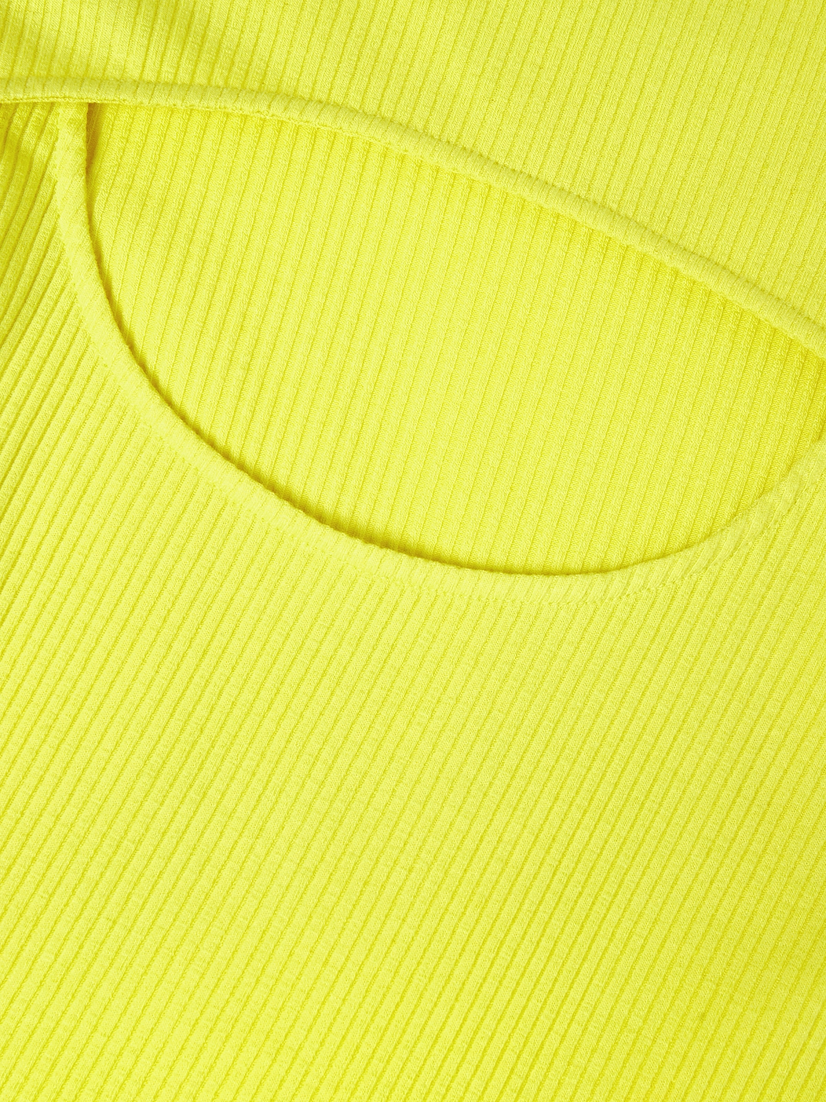 Cut Out Back Ribbed Tee Yellow