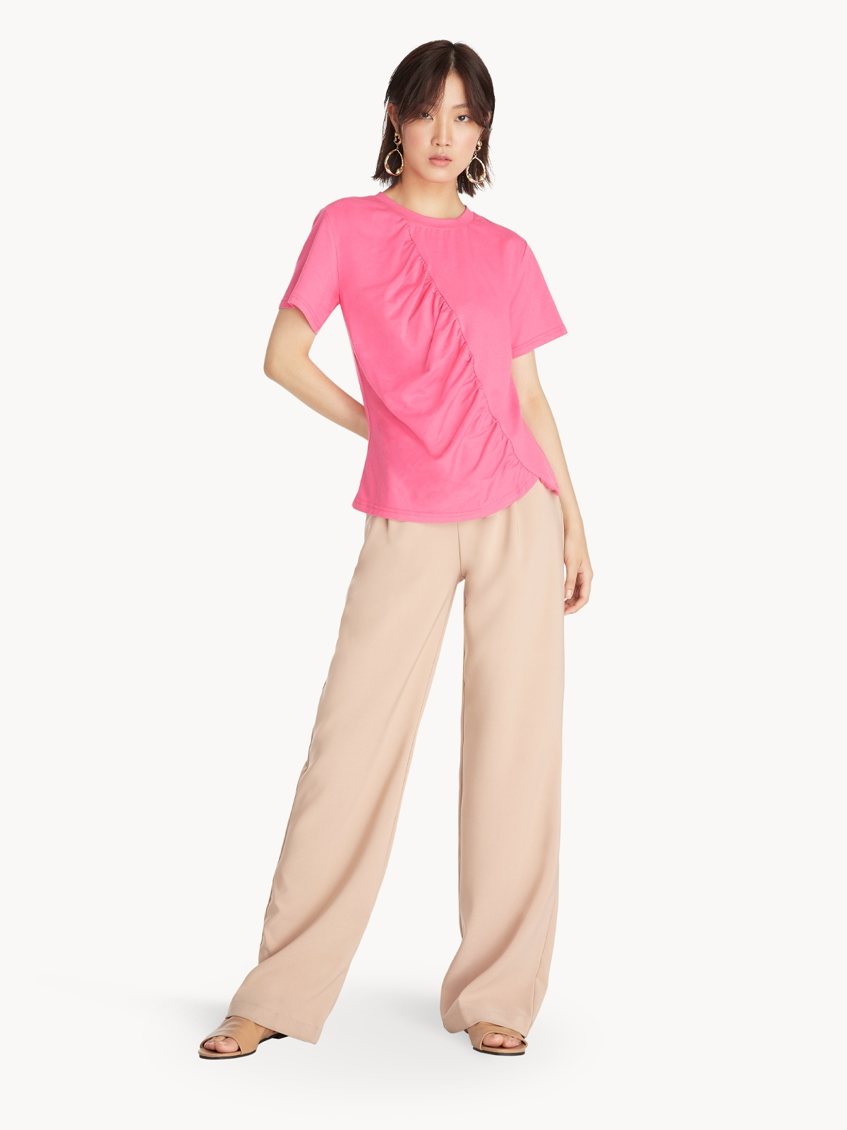 Crew Neck Ruched Tee Pink