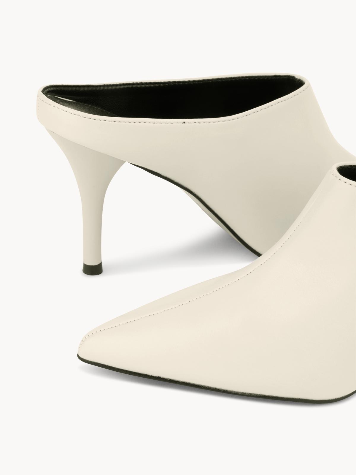 Starkela Pointed Toe Mule Heels White