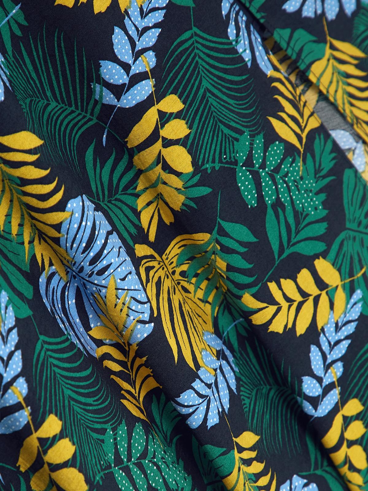 Cami Palm Leaf Dress Navy