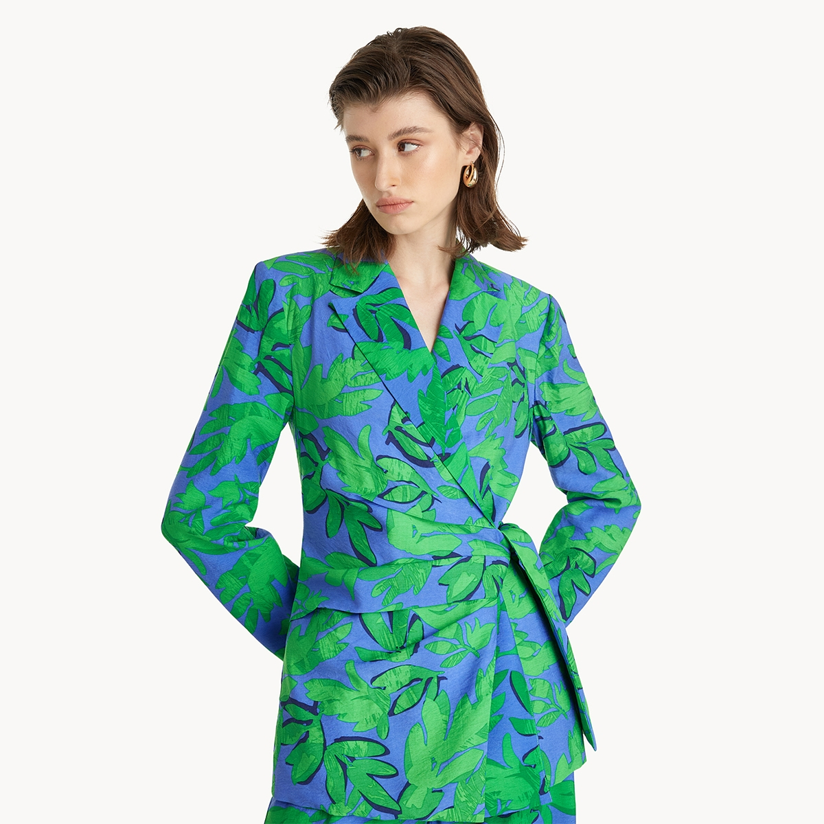 Tie Waist Leaf Print Blazer Blue