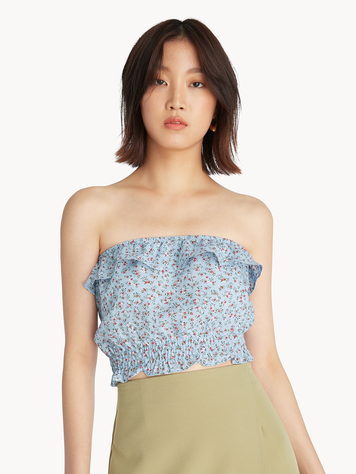 Floral Ruffled Tube Top Blue