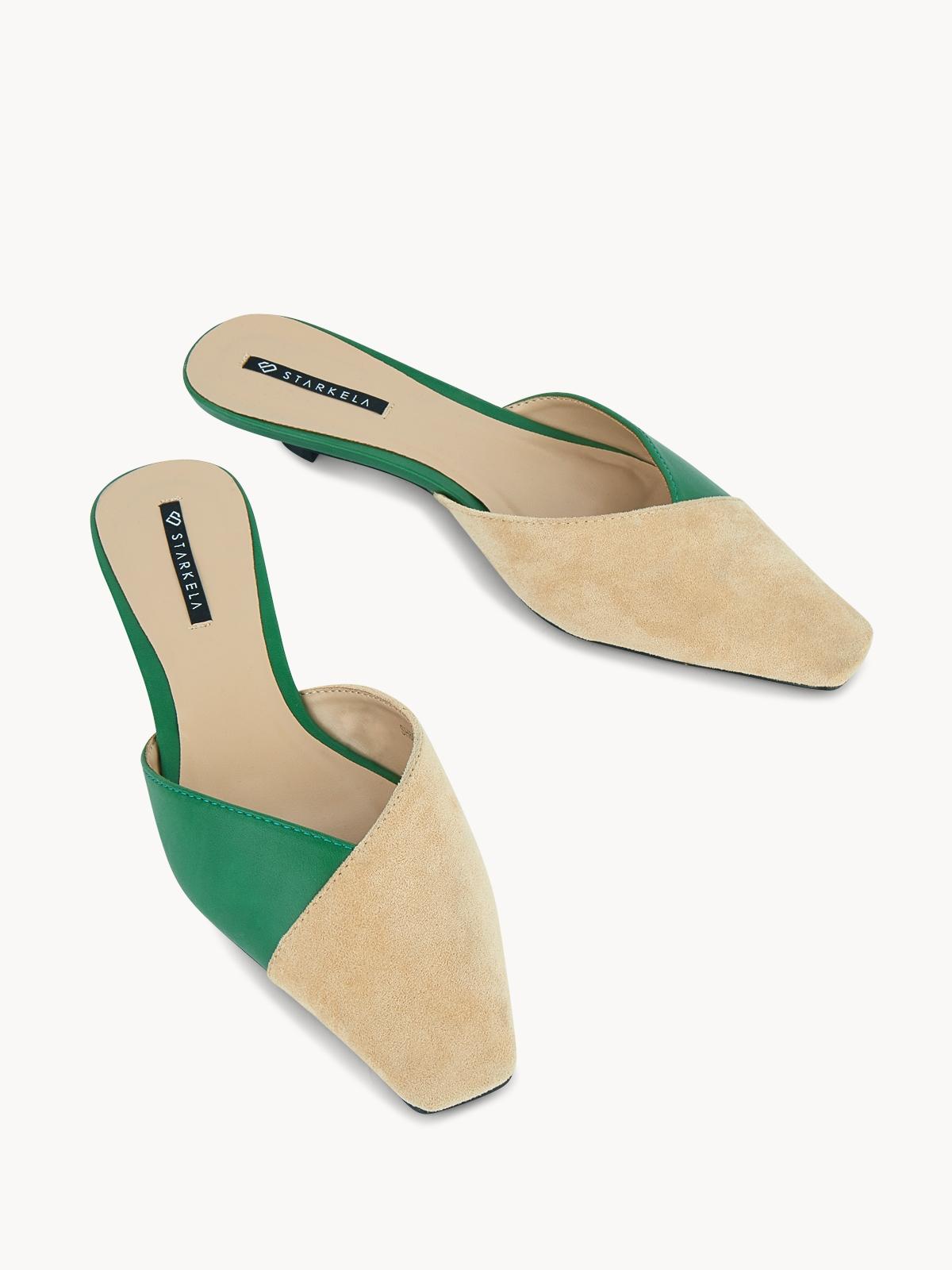 Starkela Two Tone Mid Heel Mules Green