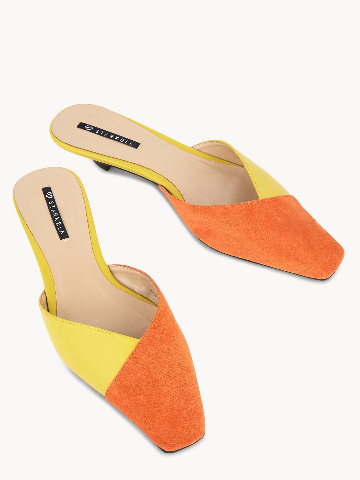 Starkela Two Tone Mid Heel Mules Orange