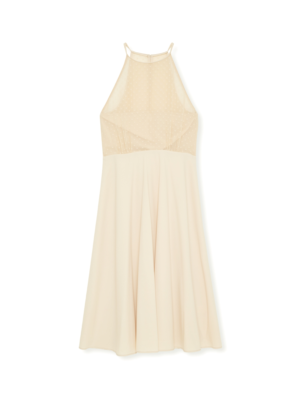Polka Dot Lace Halter Dress Cream