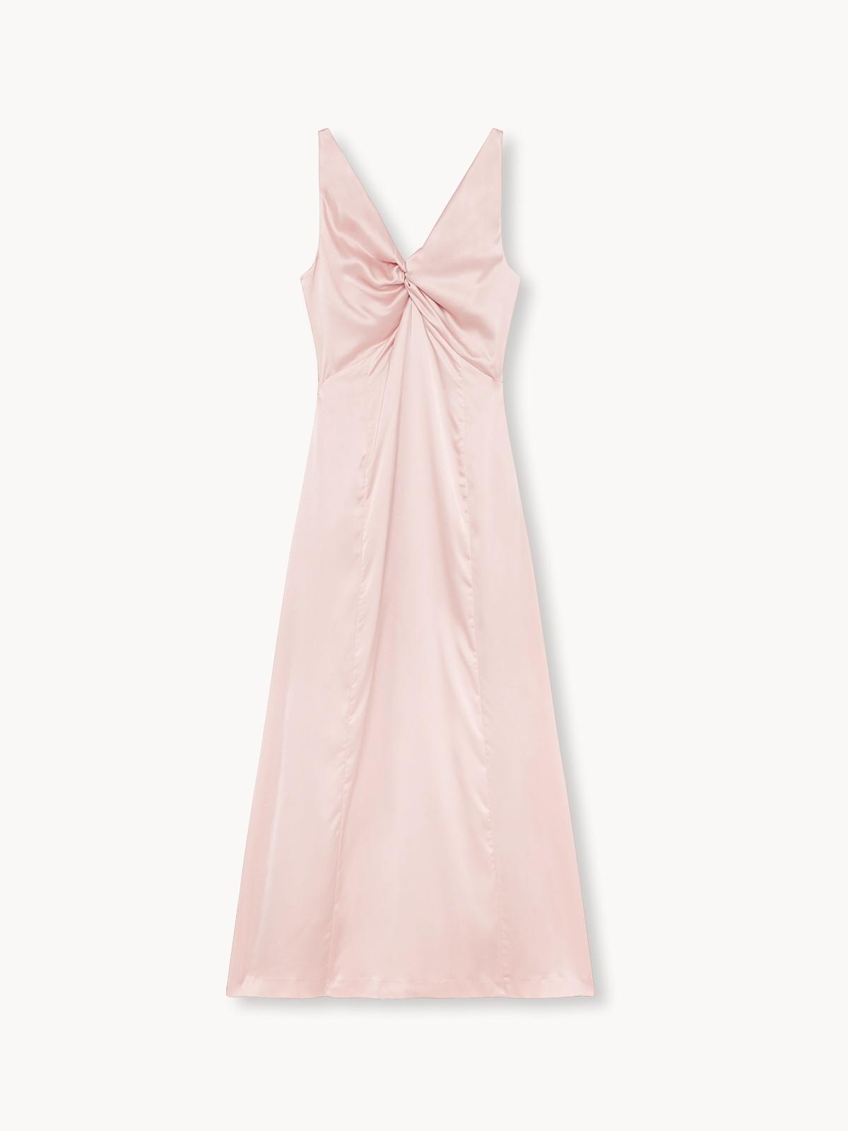 Satin Bow Shoulder Dress Pink