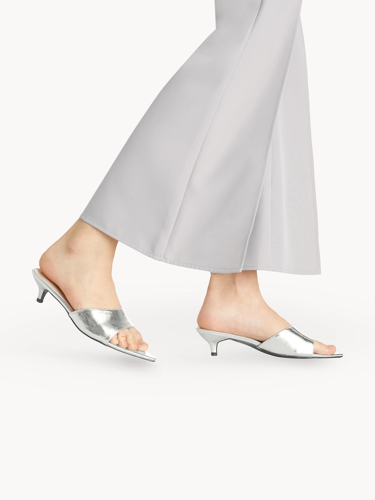 Starkela Mule Mid Heels Silver