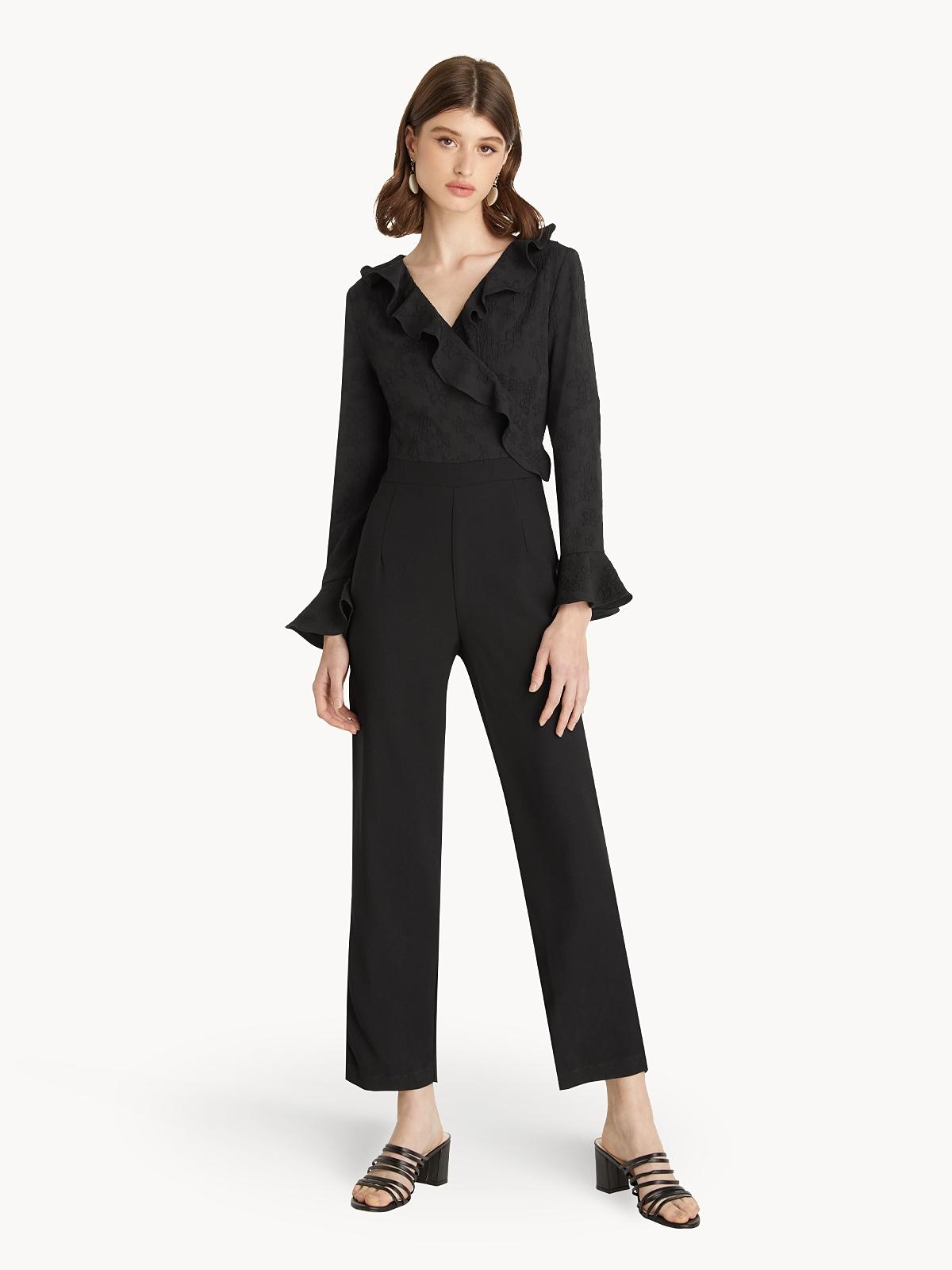 Ruffled Collar Jumpsuit Black