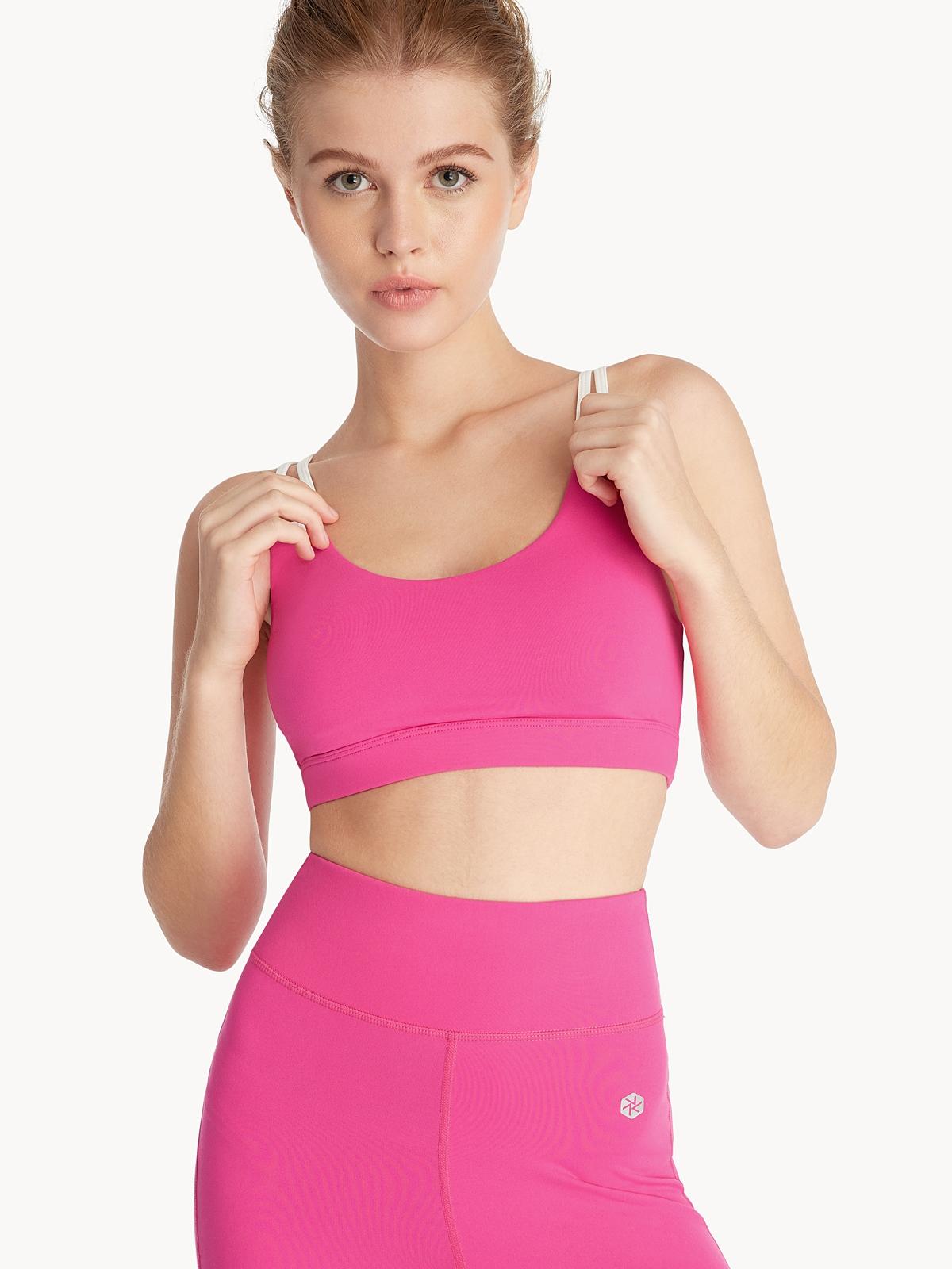 Double Strap Sports Bra Pink