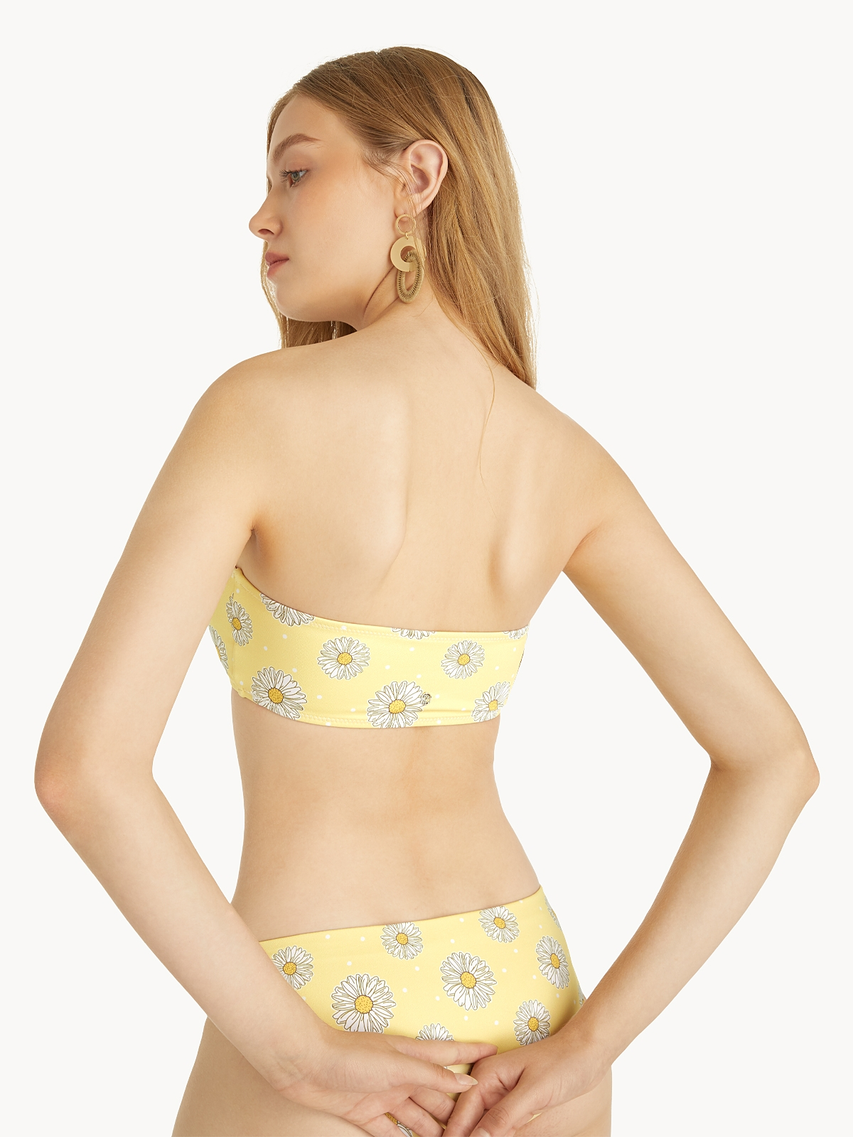 Bandeau Daisy Print Bikini Top Yellow