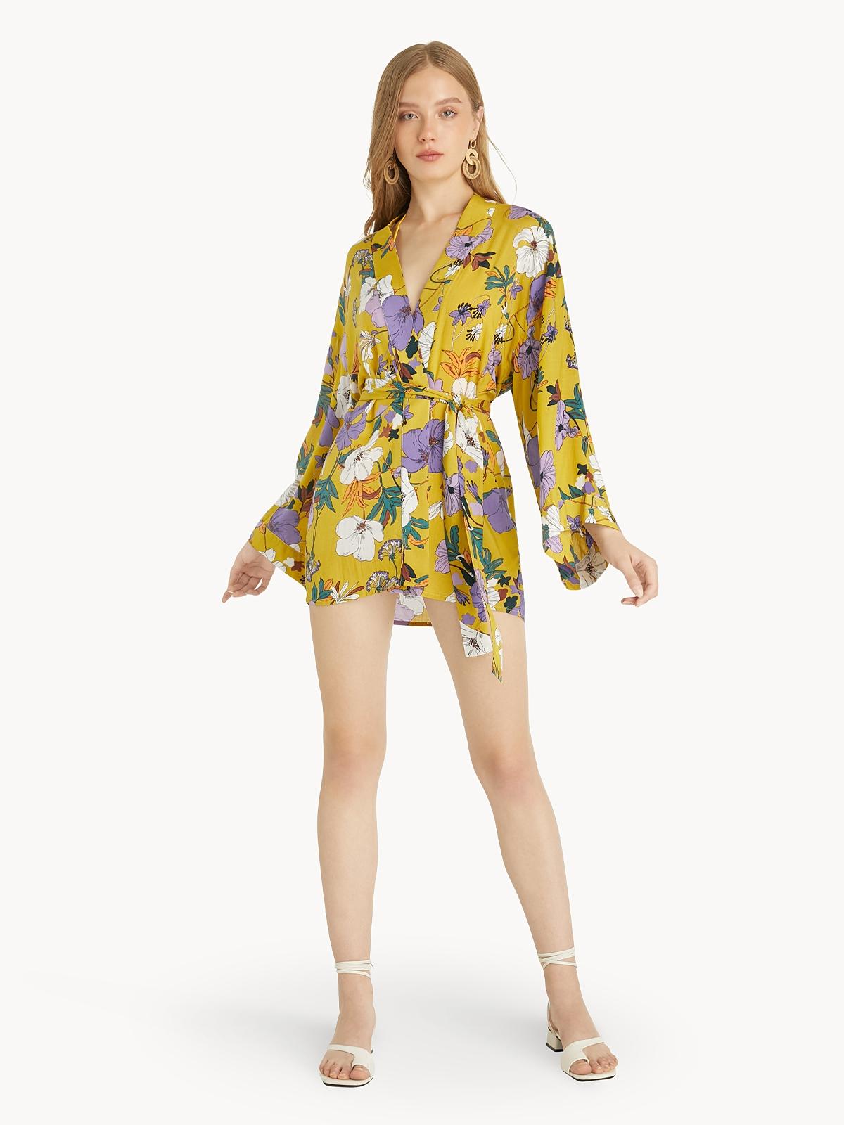 Abstract Floral Kimono Wrap Top Yellow