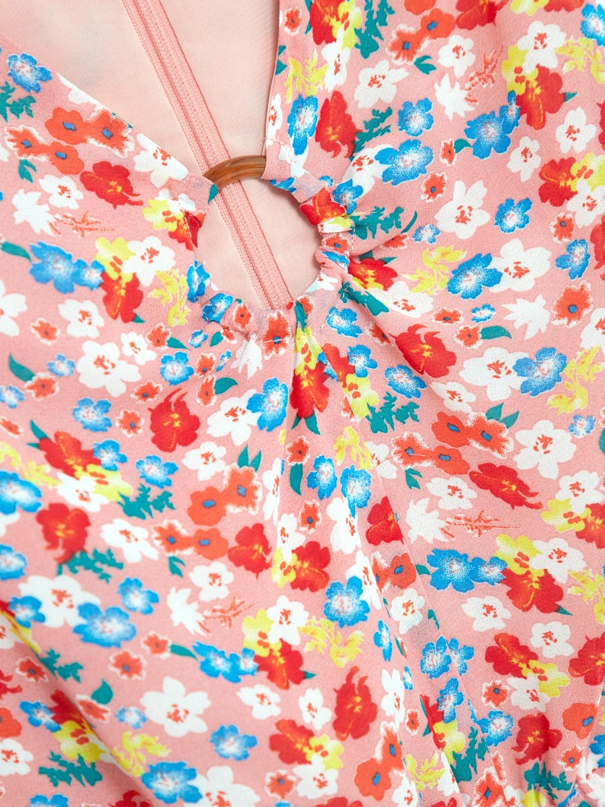 Bell Sleeves Floral Romper Pink