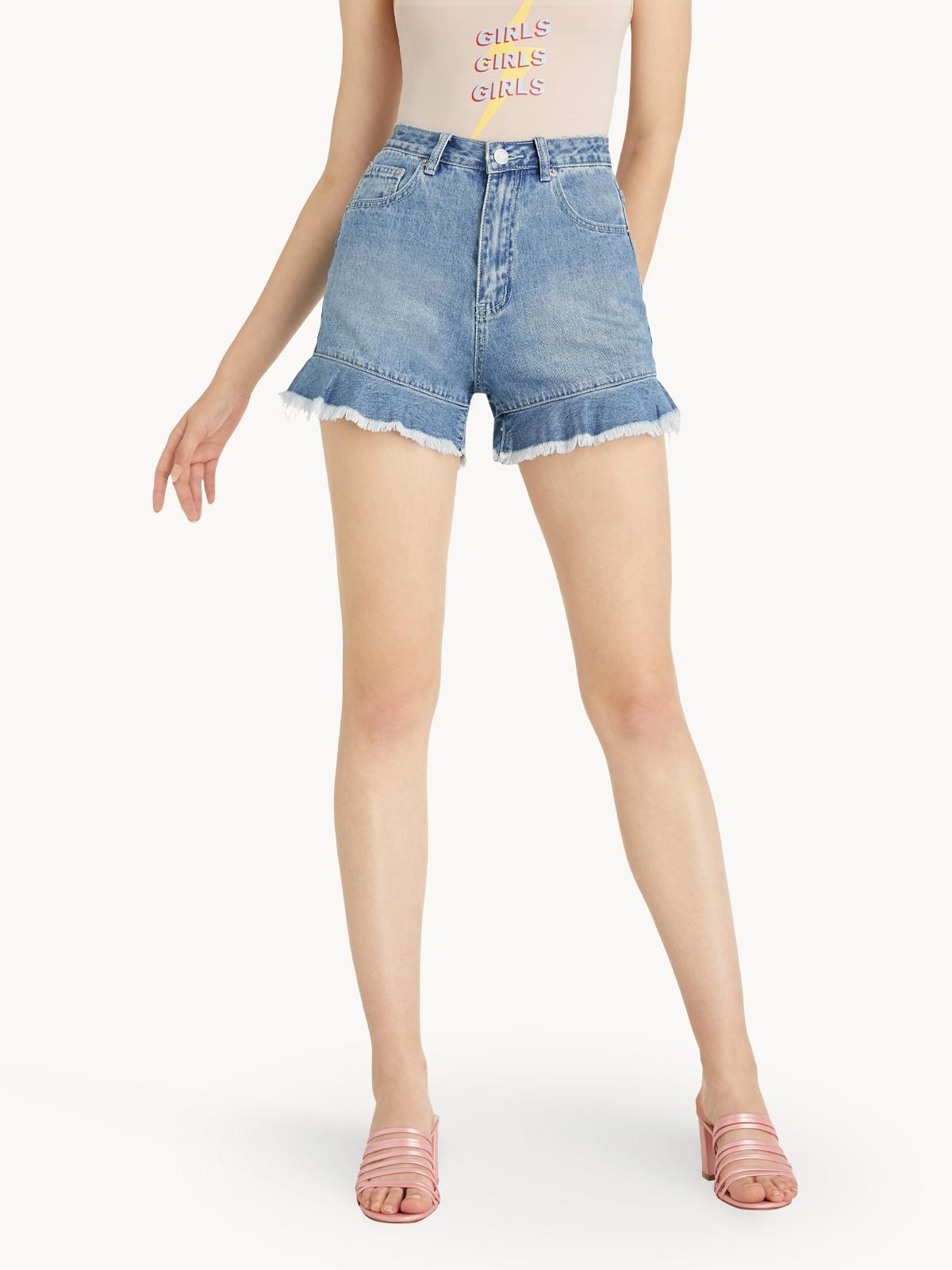 Raw Hem Flared Denim Shorts Blue