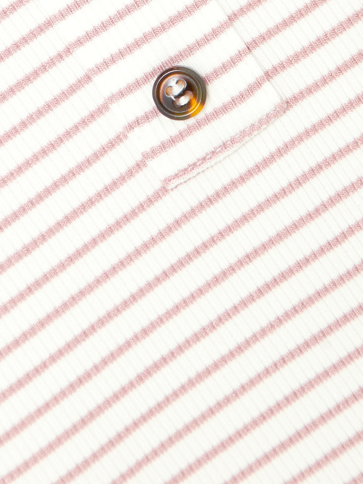 Striped Front Button Tee Pink