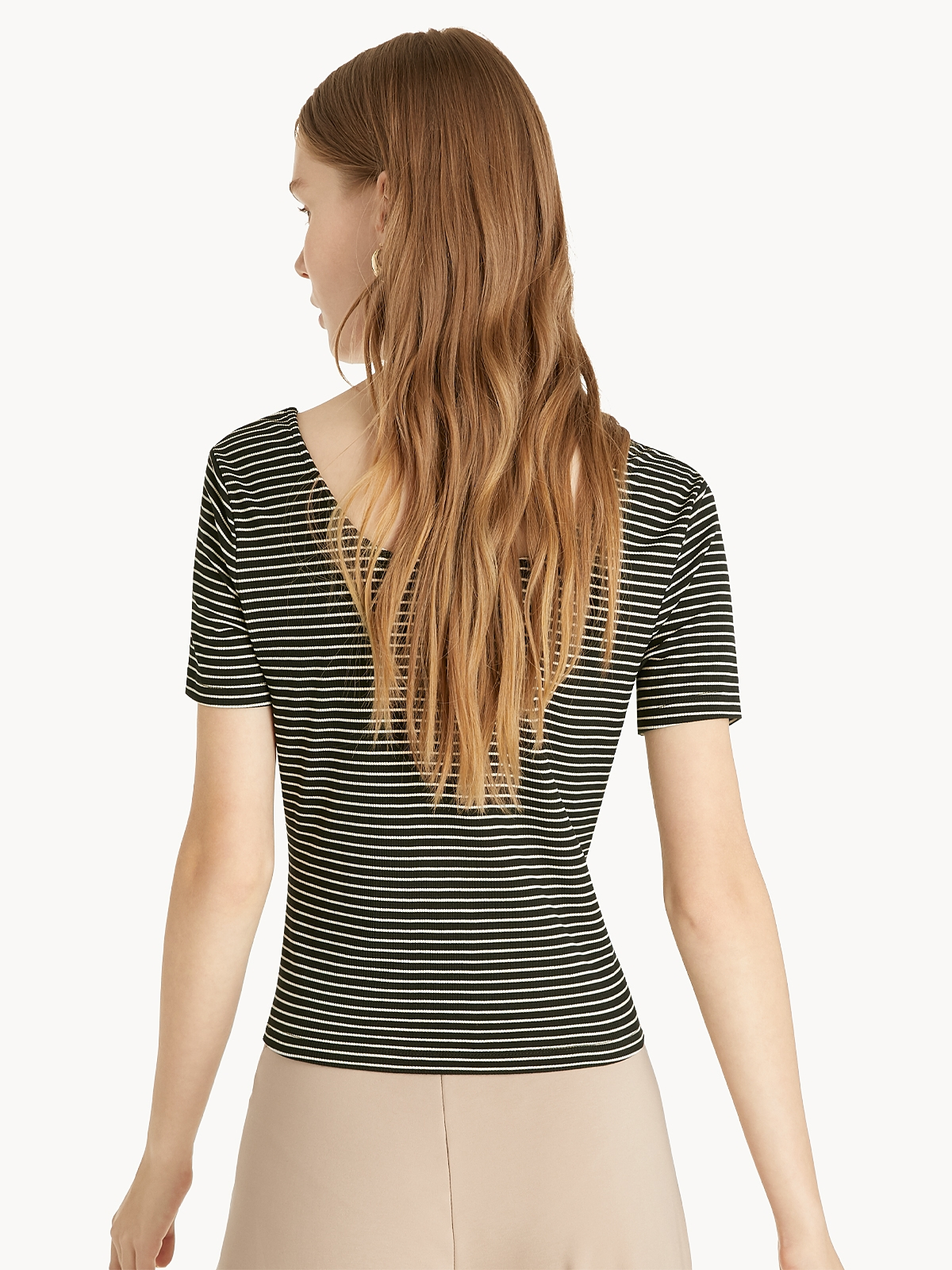 Striped Front Button Tee Black