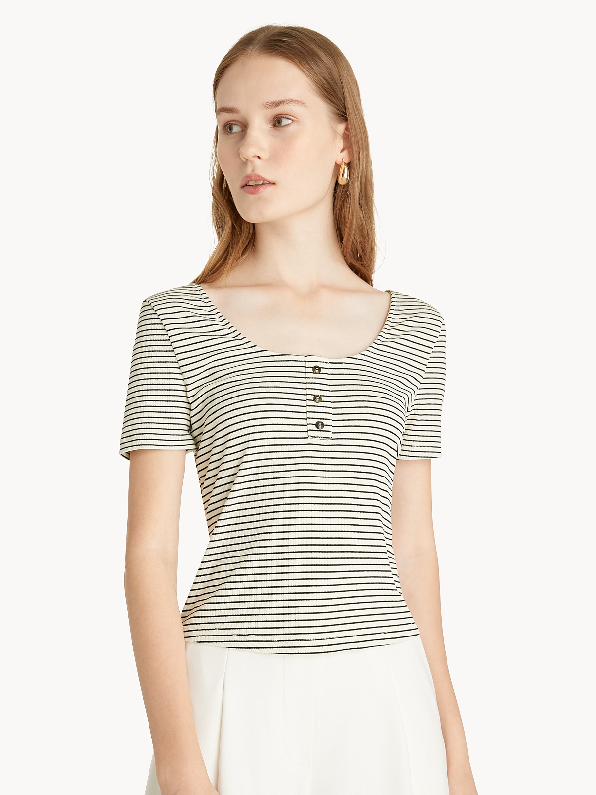 Striped Front Button Tee Beige