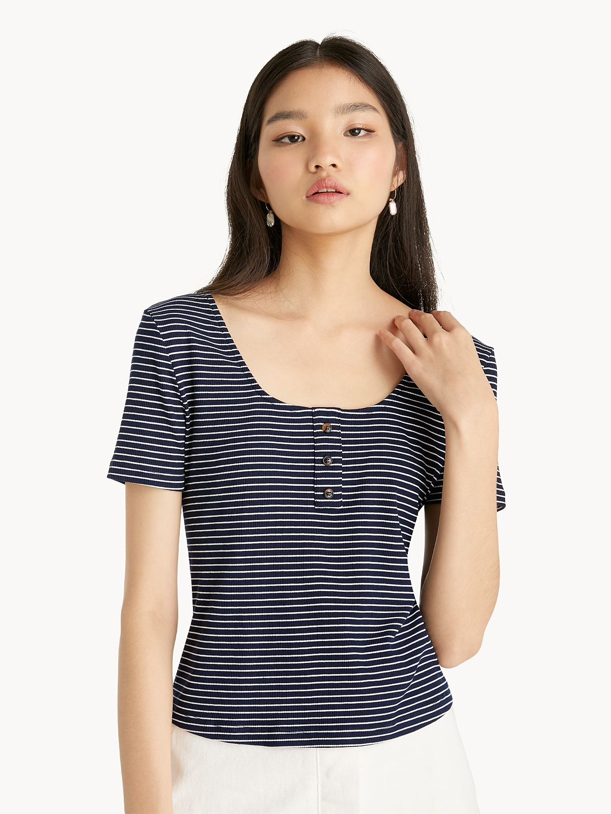 Striped Front Button Tee Navy