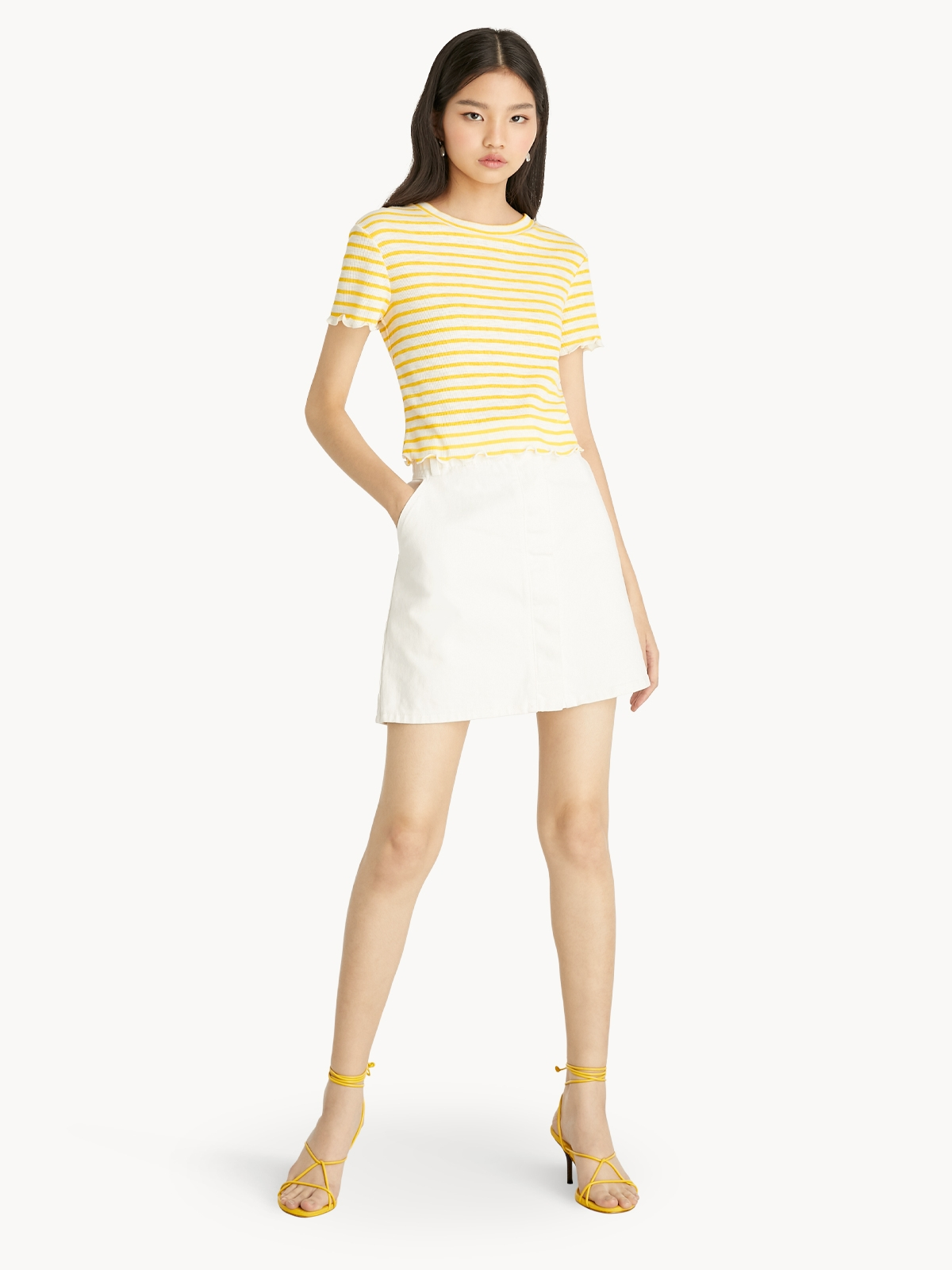 Cropped Striped Shirt Yellow