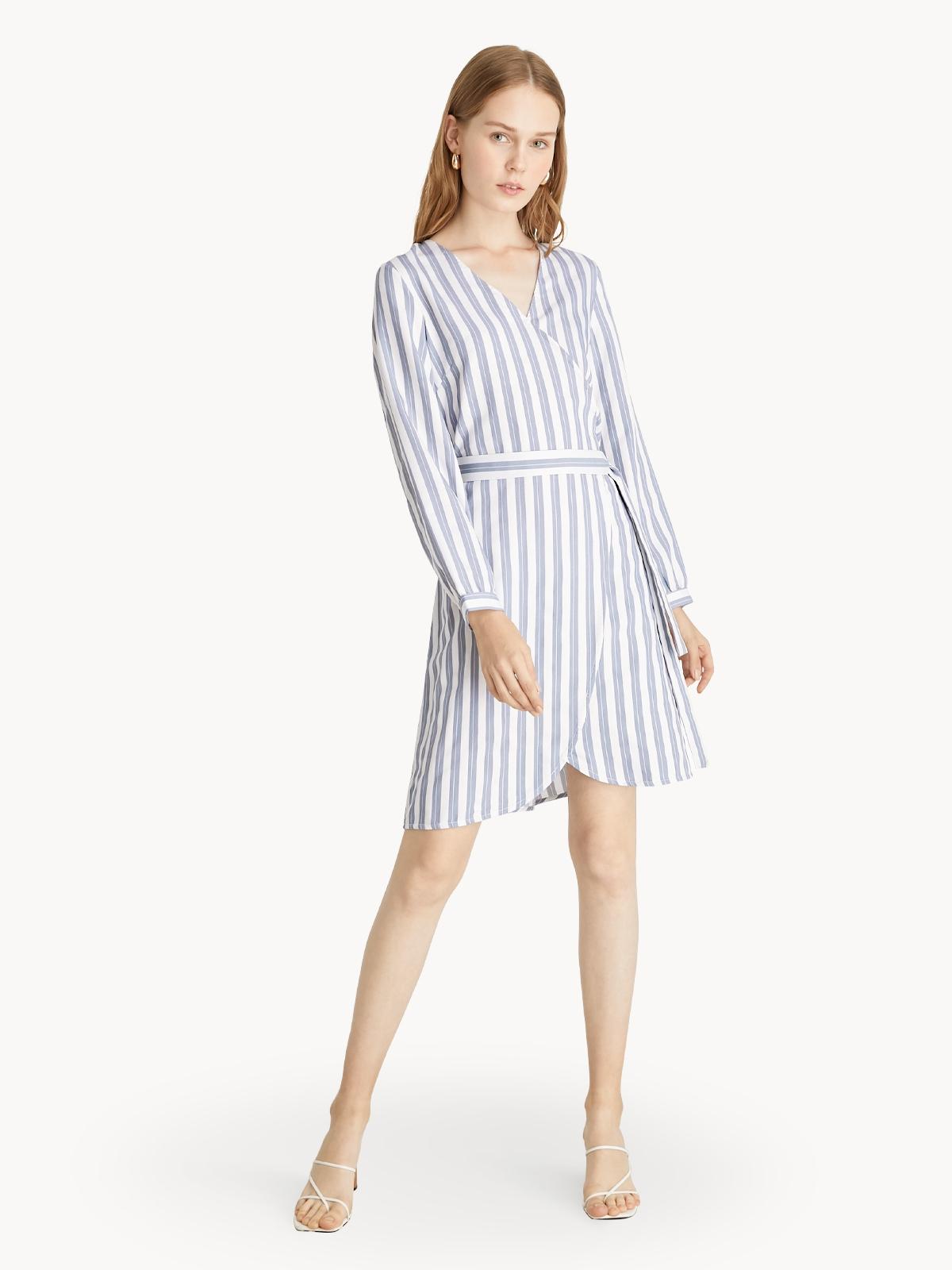 Striped Surplice Wrap Dress Blue