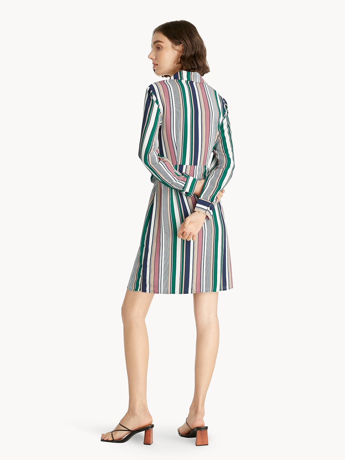 Tie Waist Uneven Stripe Shirt Dress Pink