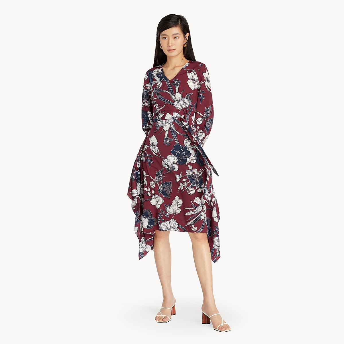 Floral Side Tie Ruffle Dress Red