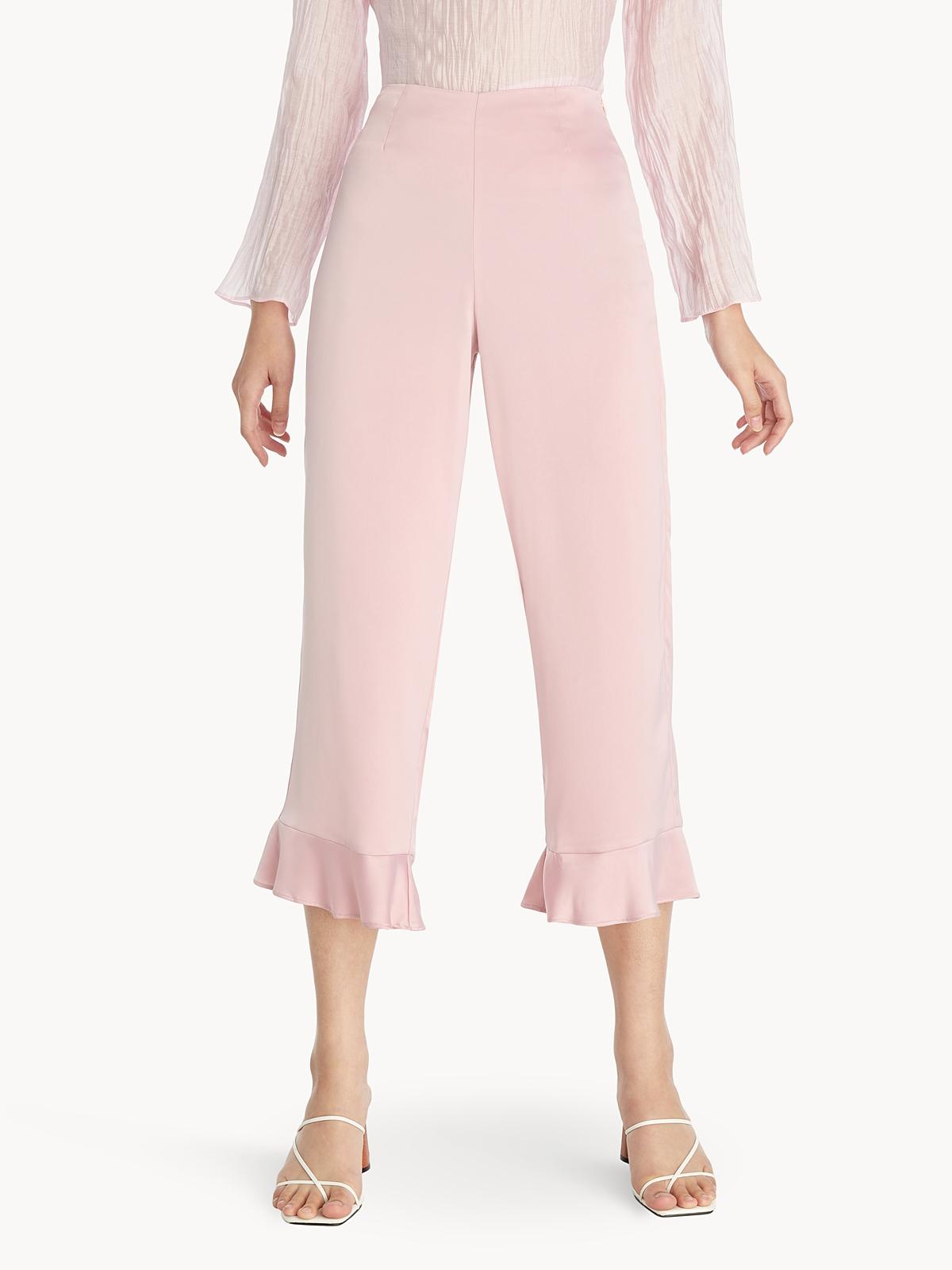 Cropped Bottom Frill Satin Pants Pink