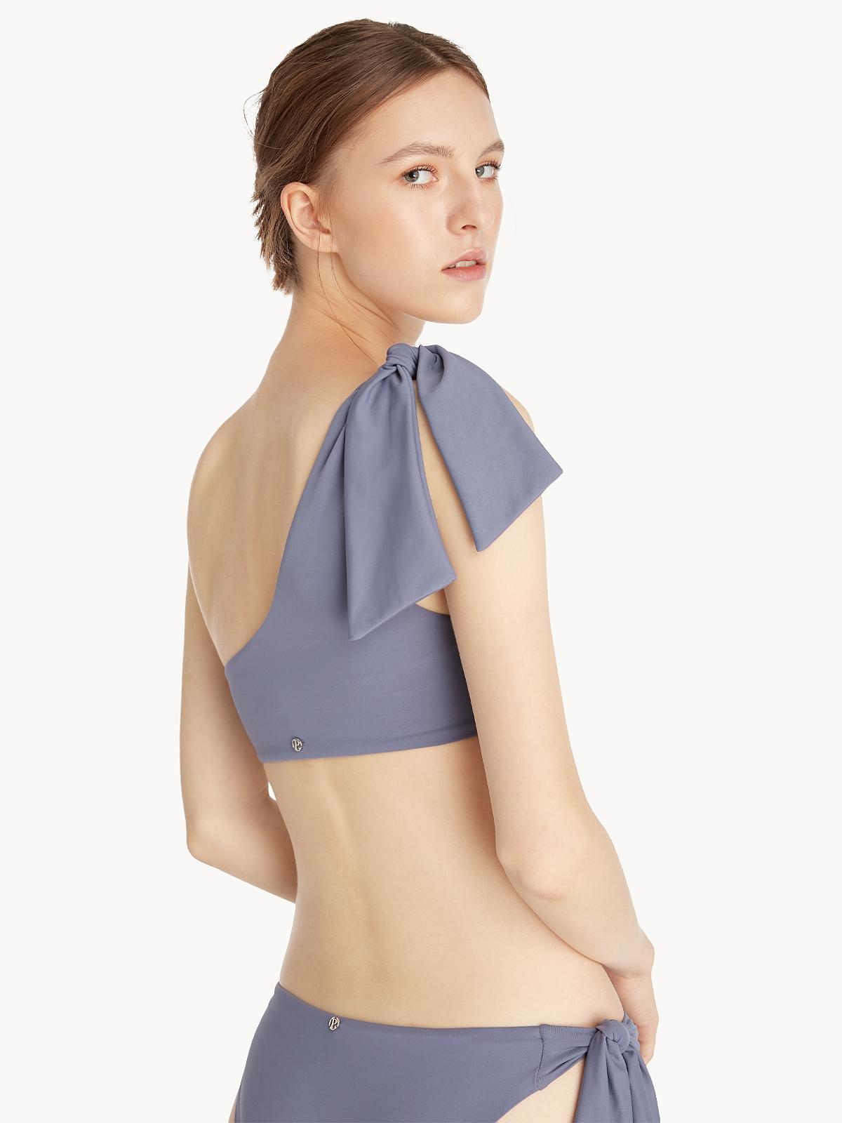 One Shoulder Side Bow Bikini Top Dark Grey