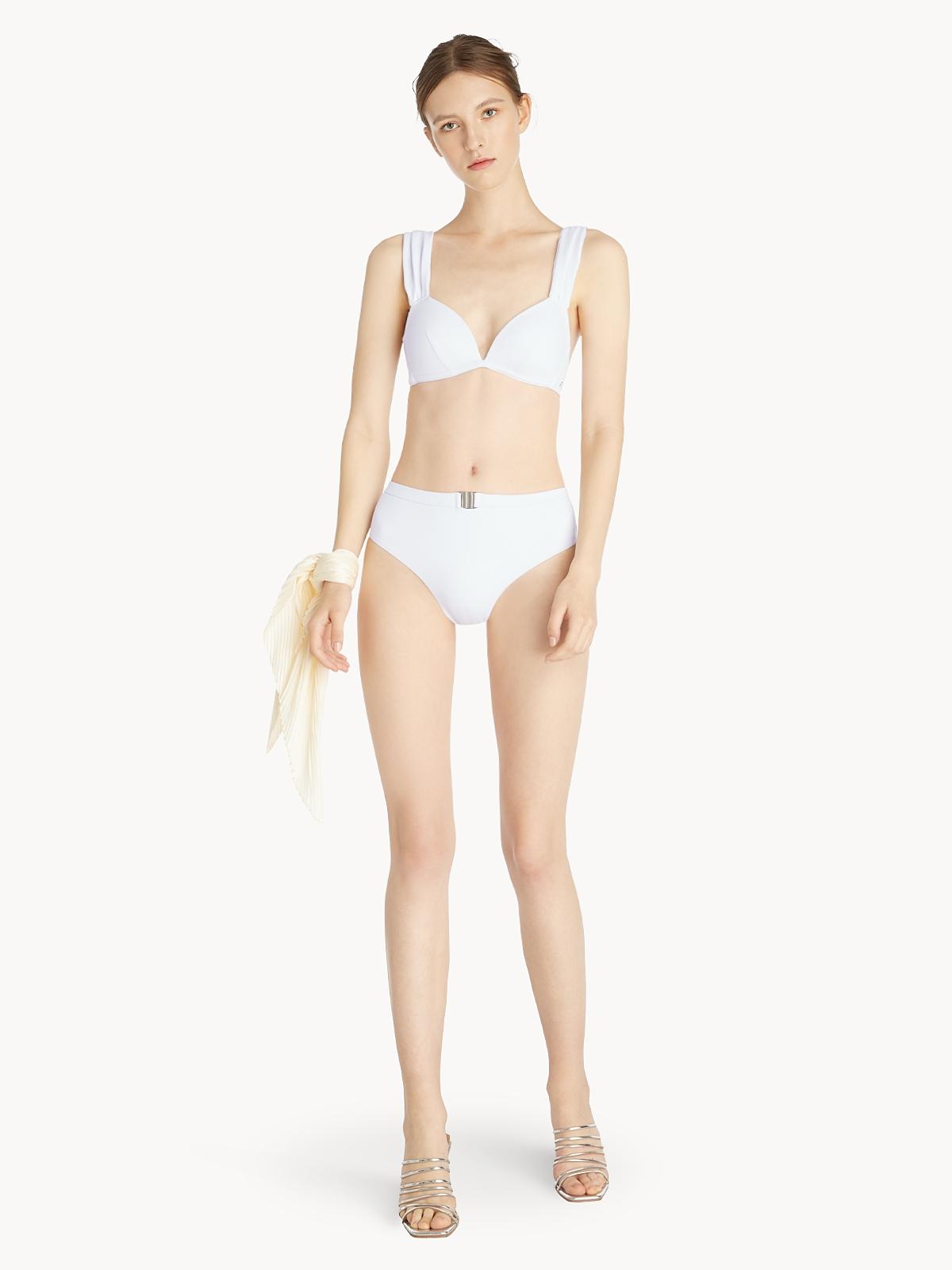 V Cut Triangle Bikini Top White