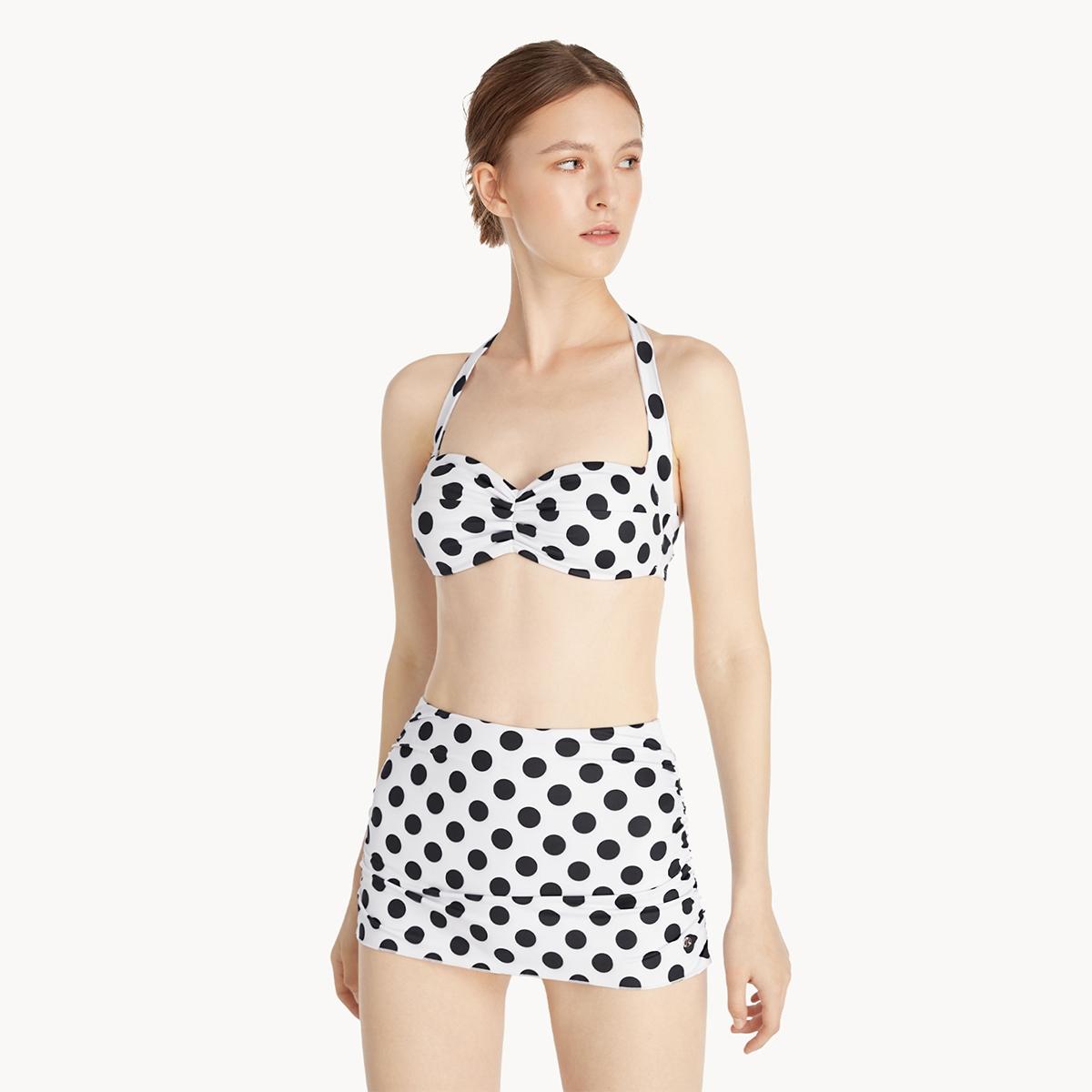 Halter Neck Polka Dot Bikini top White
