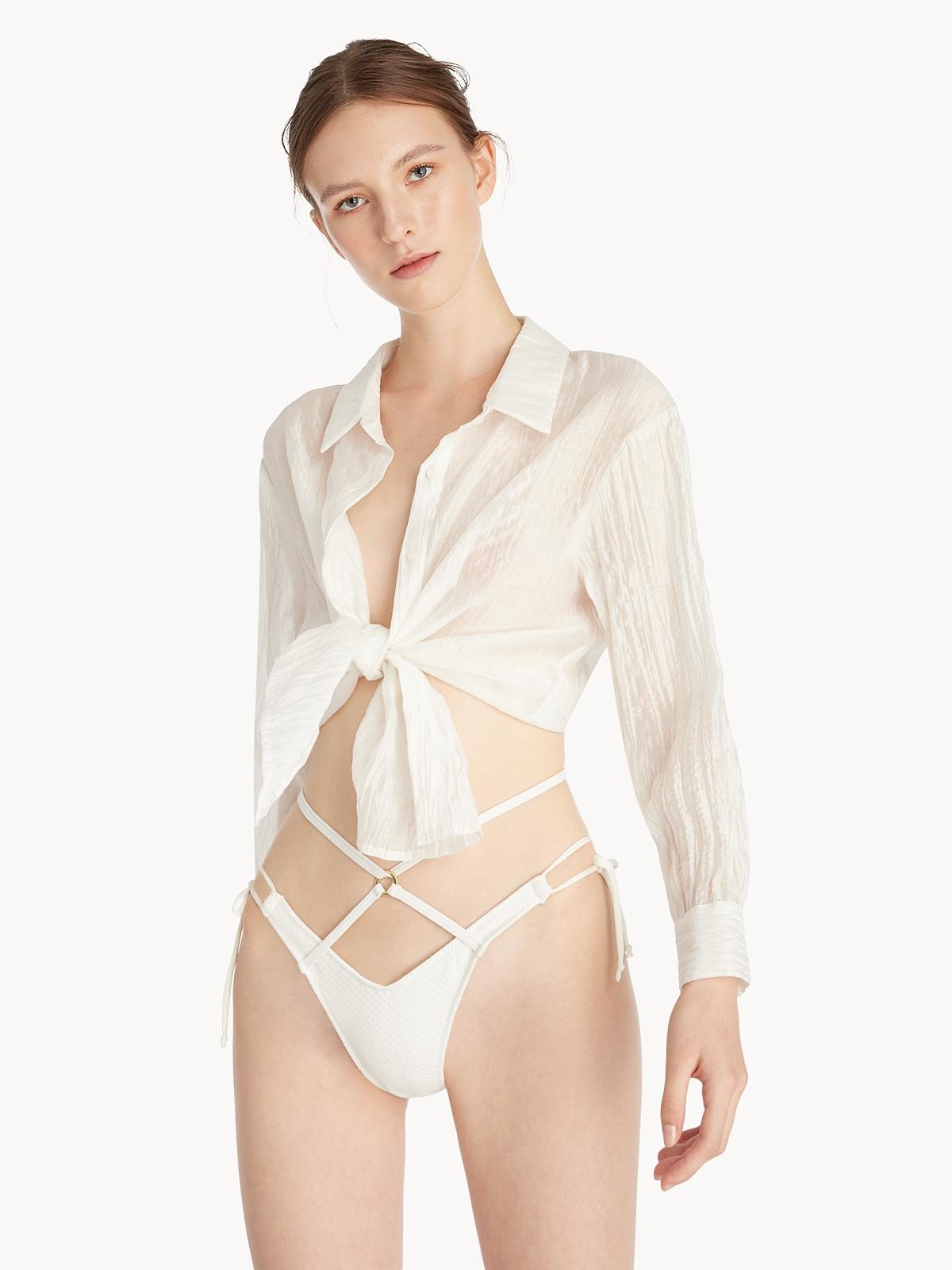 Bandeau Polka Dot Frill Bikini Top White