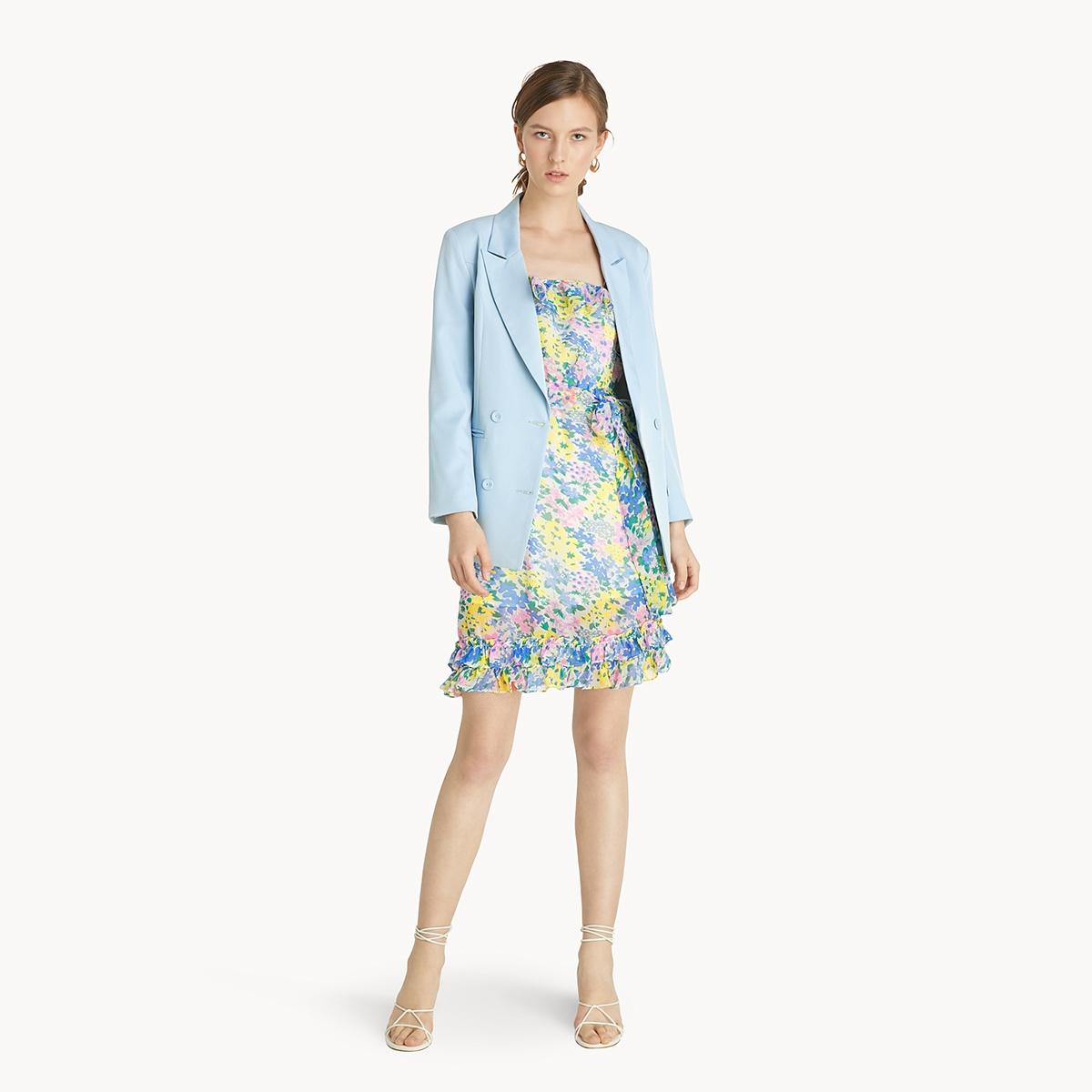 Mini Floral Tie Shoulder Dress Blue