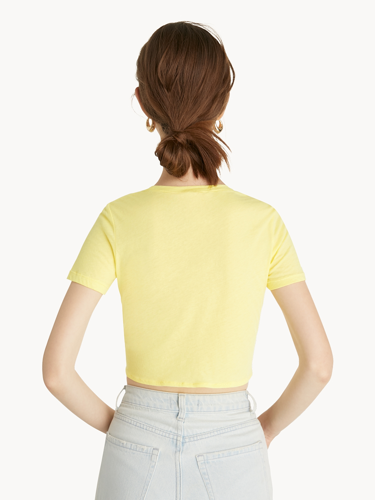 Front Knot Crop Top Yellow