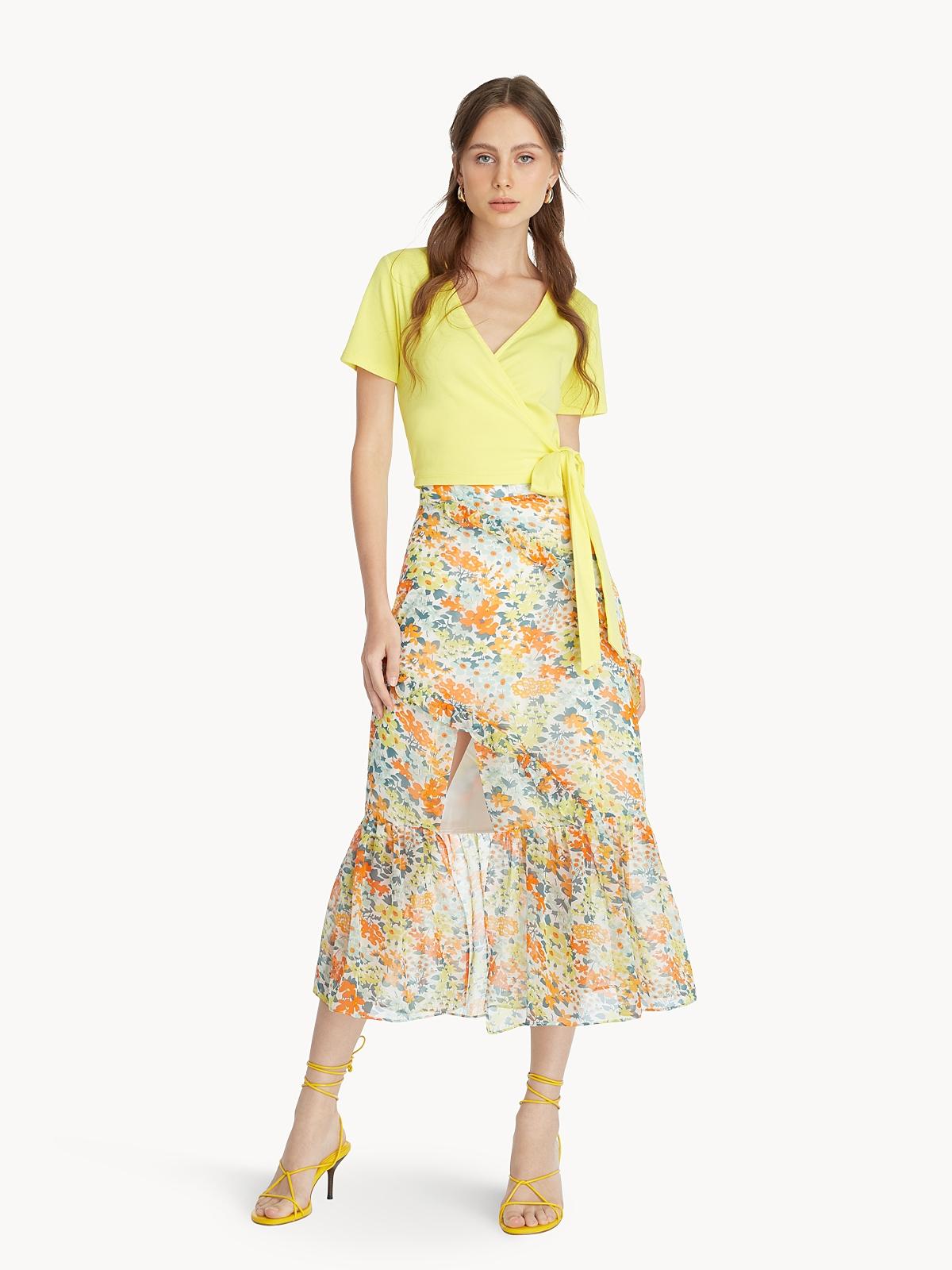 Tie Waist Crop Top Yellow