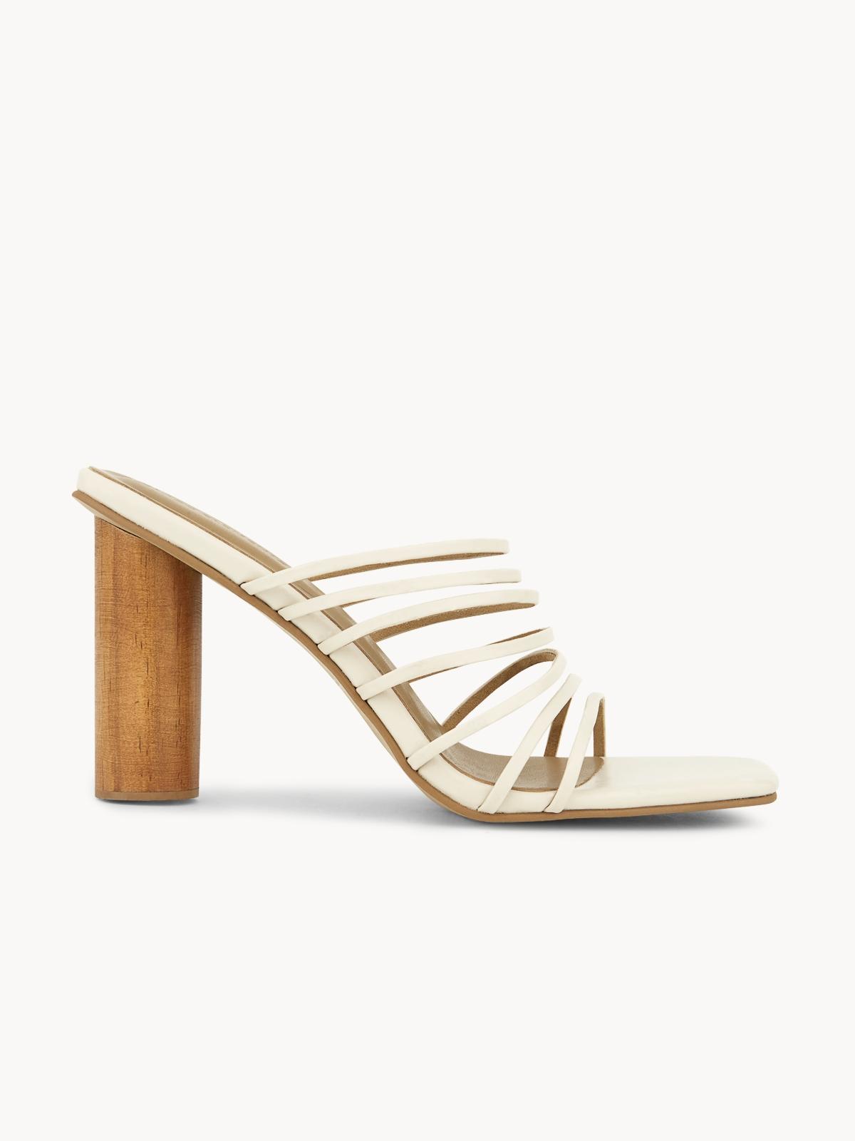 Blaze Candice Strappy Wooden Heels Ivory