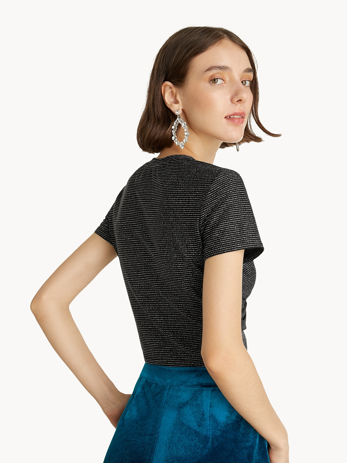 Glitter Pinstripes Knotted Top Black