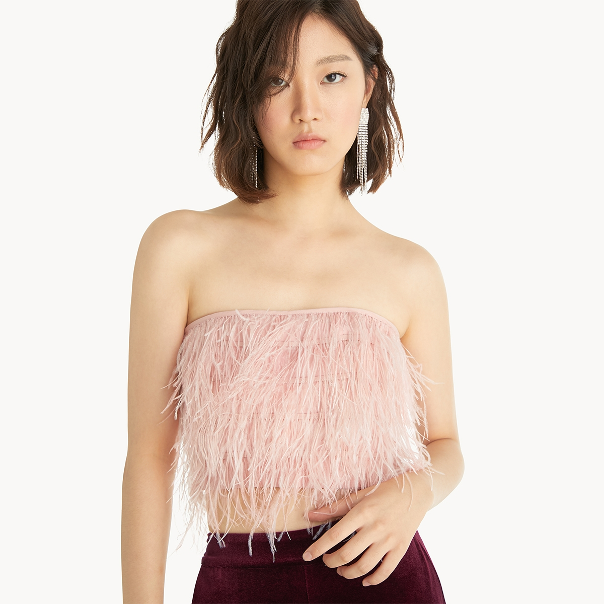 Feather Tube Top Pink