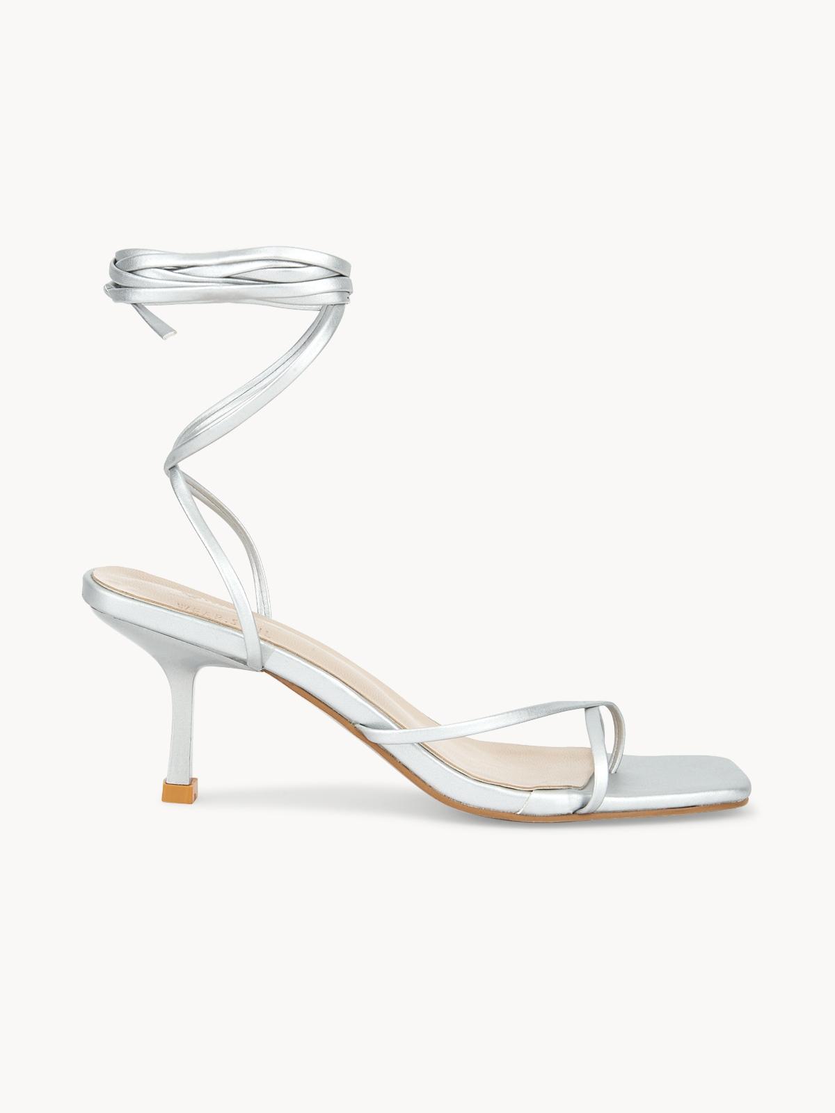 Pomelo x Wear Soul Strapped Sandal Heels Silver