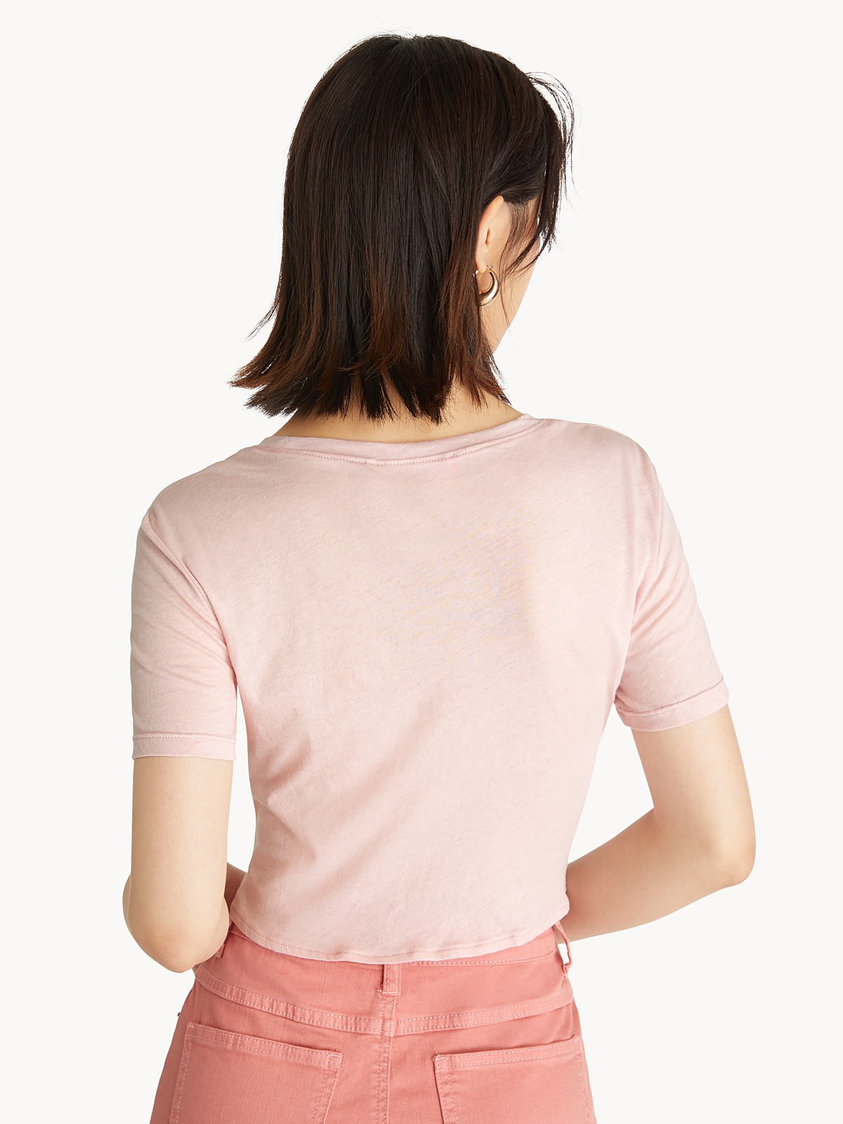 Front Knot Crop Top Pink