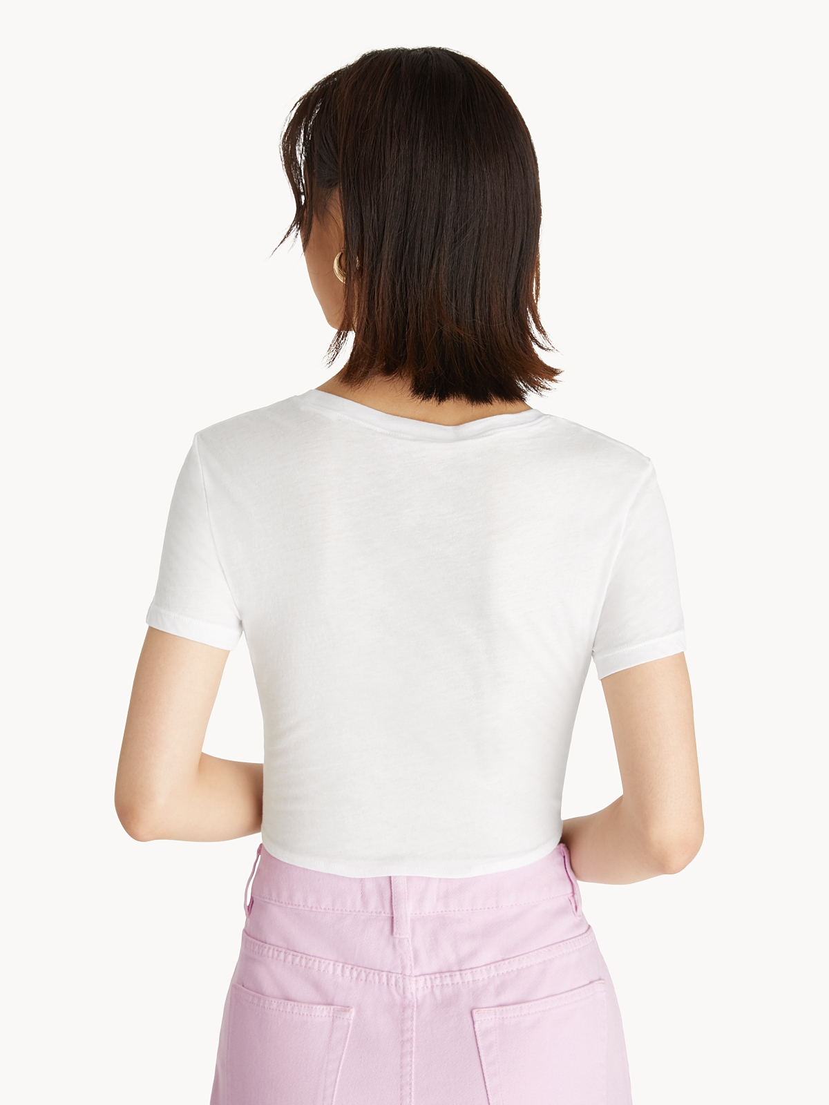 Front Knot Crop Top White