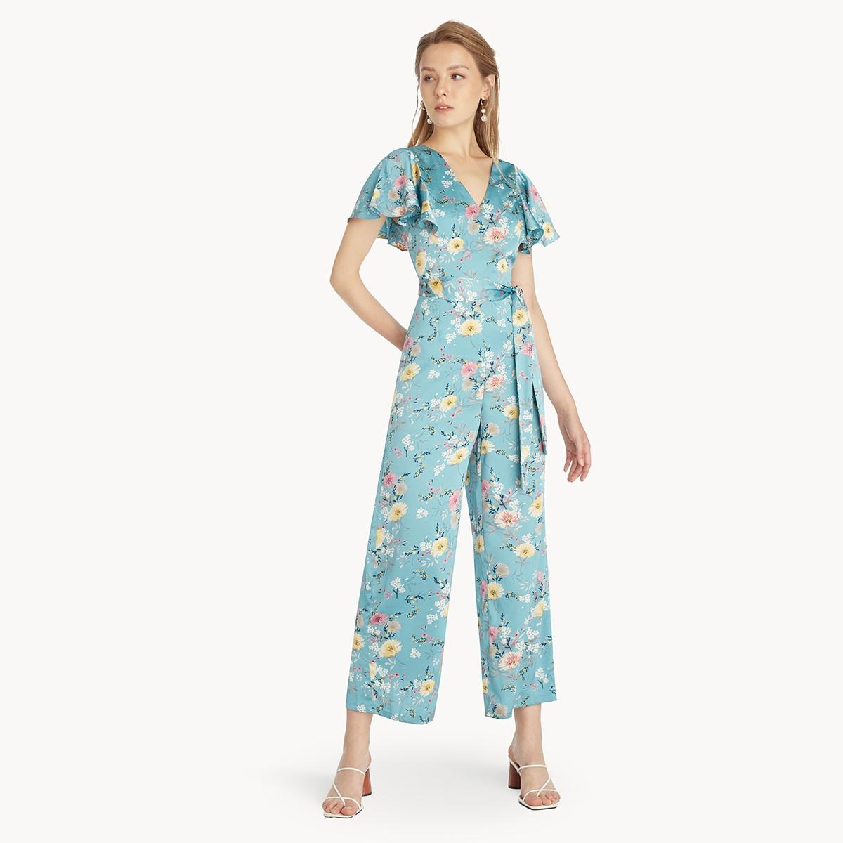 Tied Open Back Floral Jumpsuit Blue