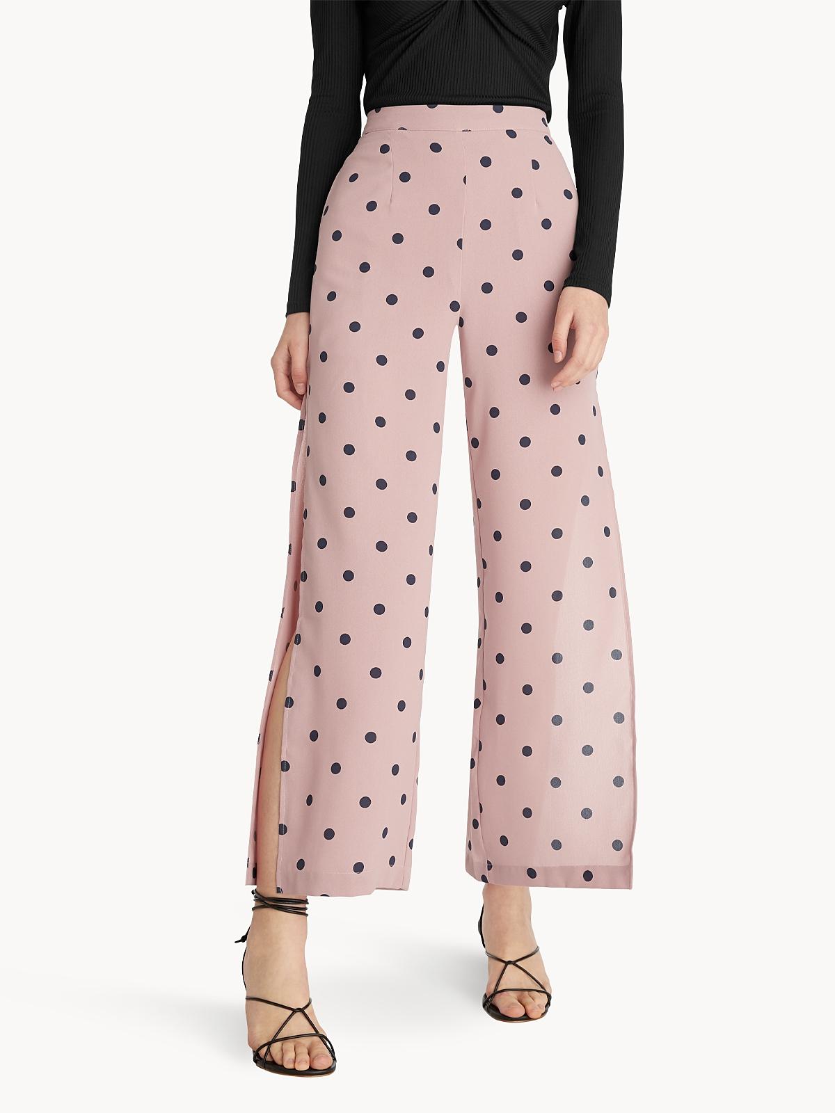 Polka Dot Print High Waist Pants Pink