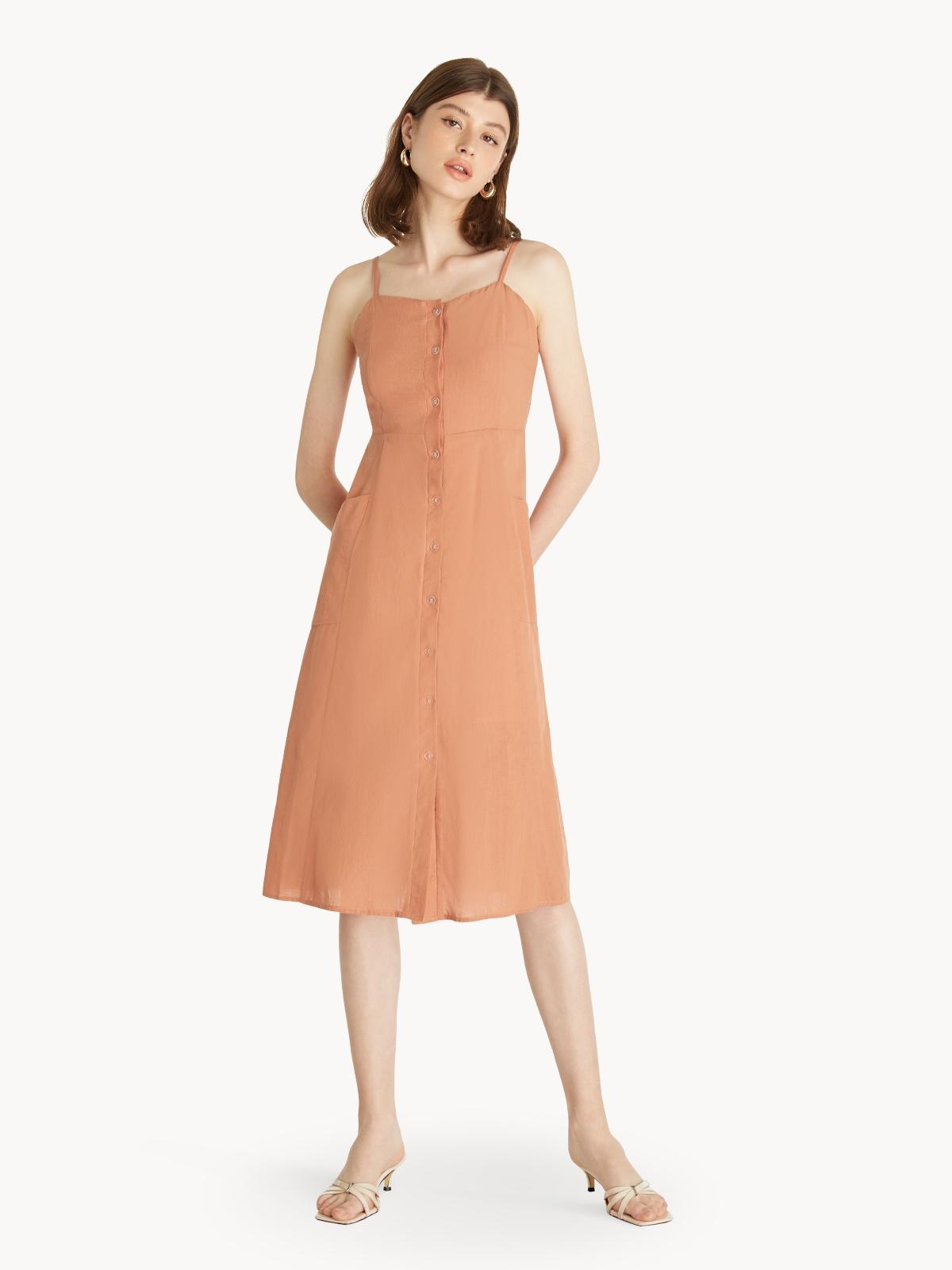 Cami Buttoned Dress Orange