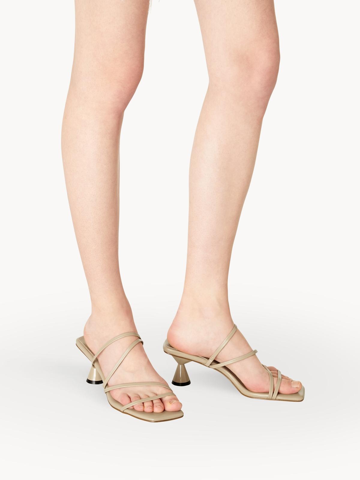 MINX Vera Strappy Open Toe Heels Taupe