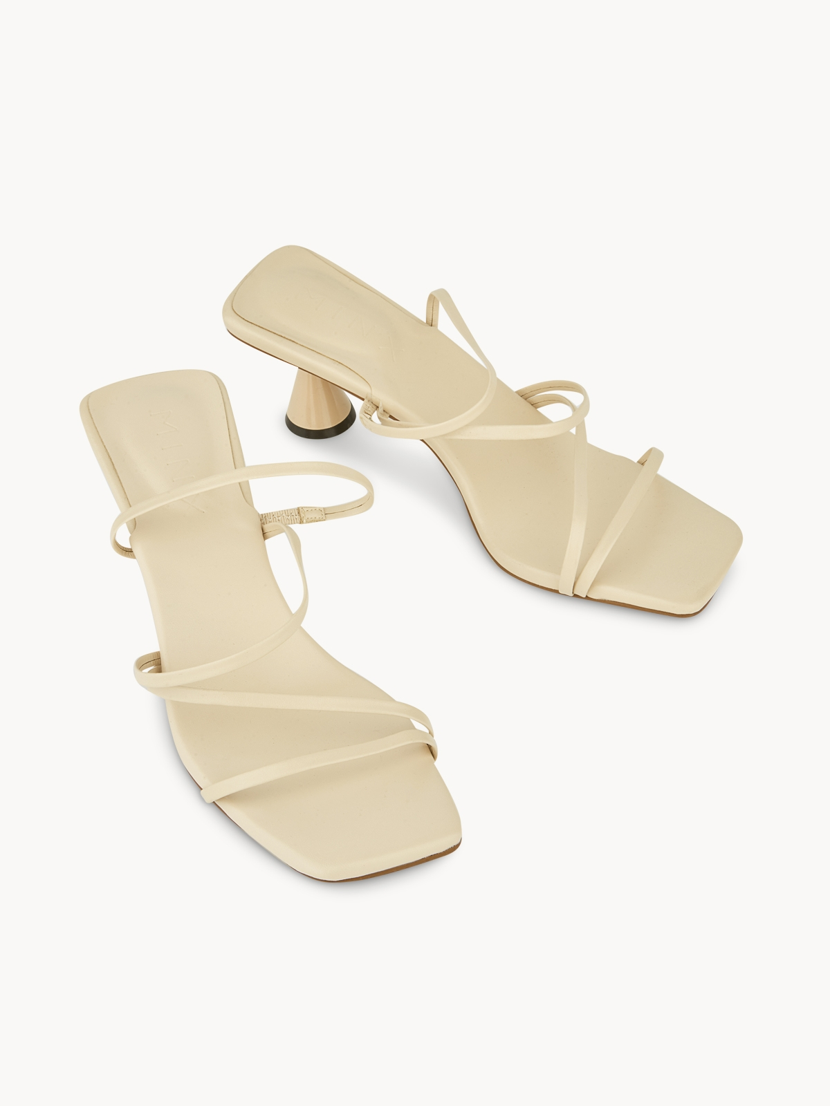 MINX Vera Strappy Open Toe Heels Ivory