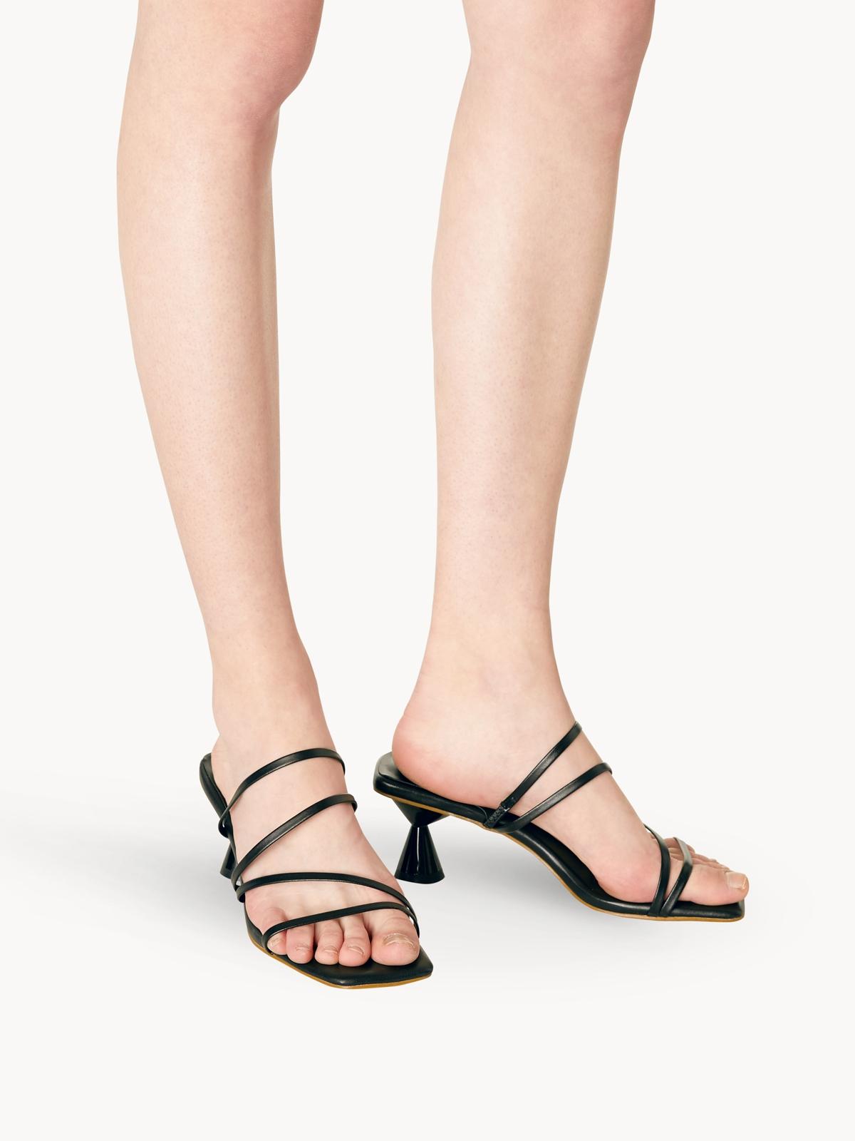 MINX Vera Strappy Open Toe Heels Black
