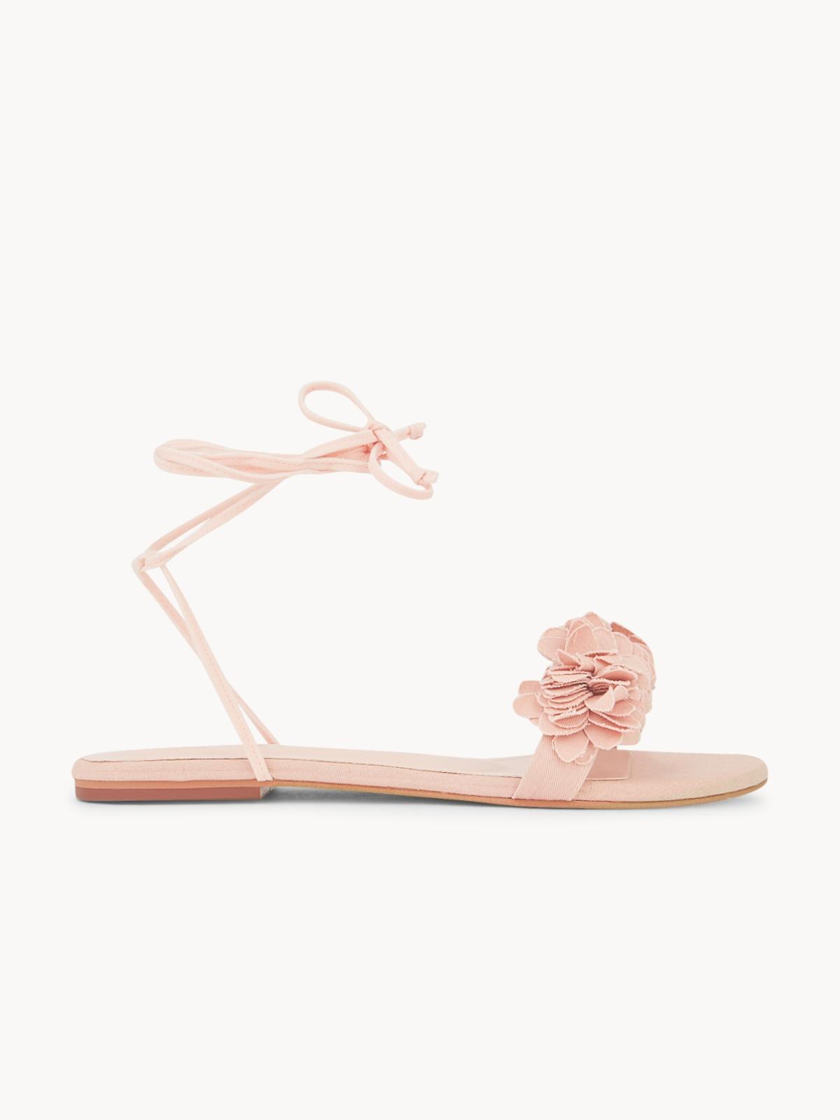 MINX Floral Lace Up Sandals Pink